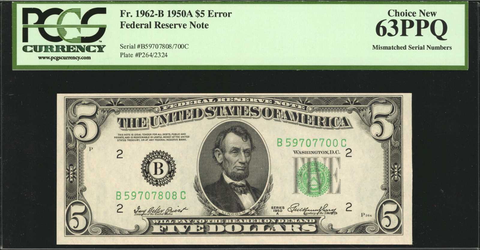 sample image for 1950A Dark Green Seal $5  (Fr.# 1962B)
