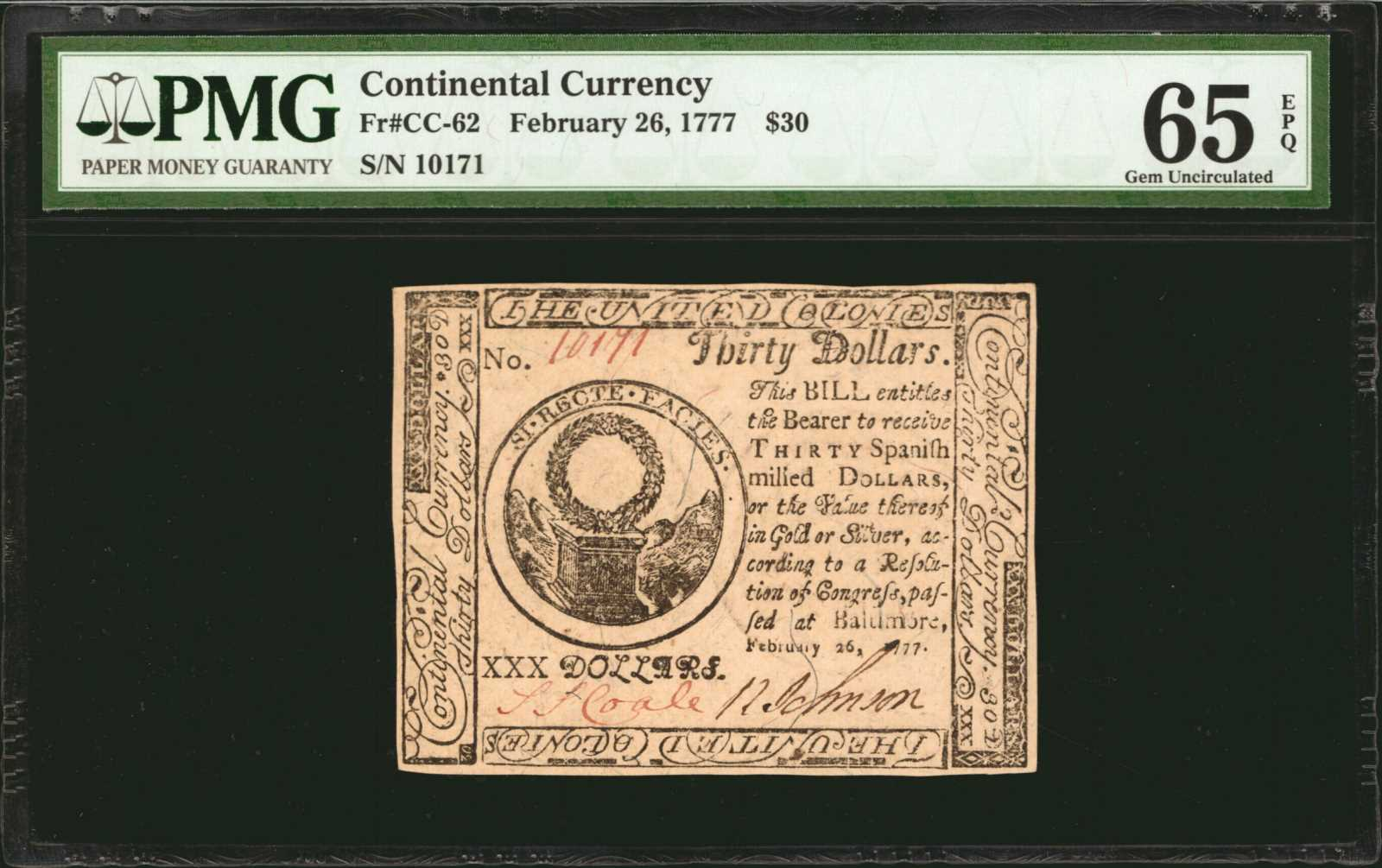 sample image for 1777 $30 CC62 Baltimore