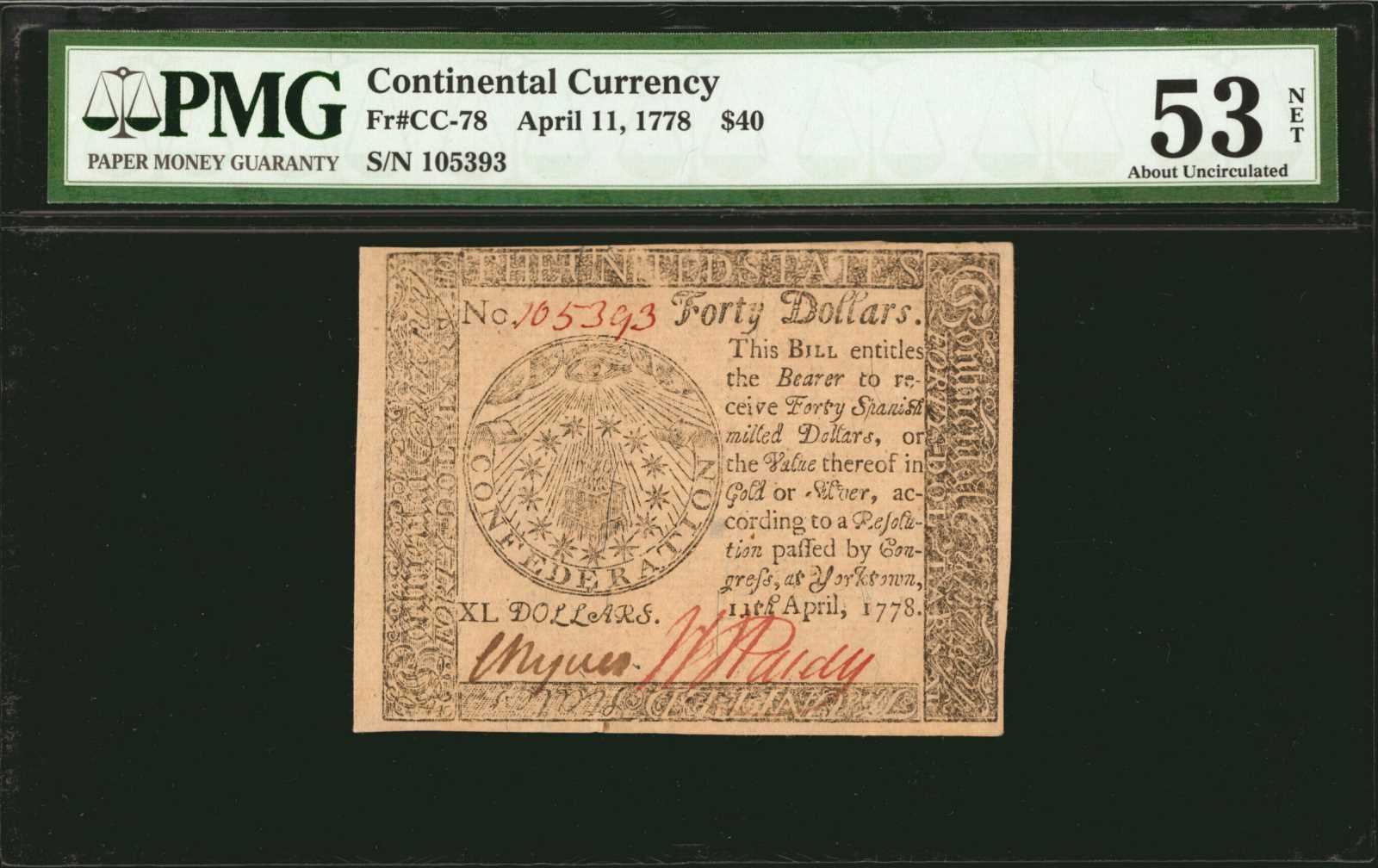 sample image for 1778 $40 CC78 Yorktown