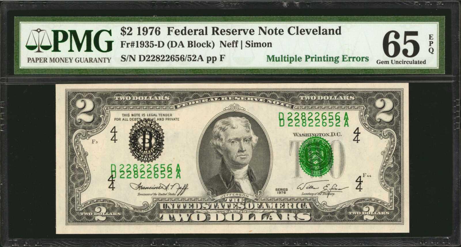 sample image for 1976 $2  Cleveland (Fr.# 1935D)