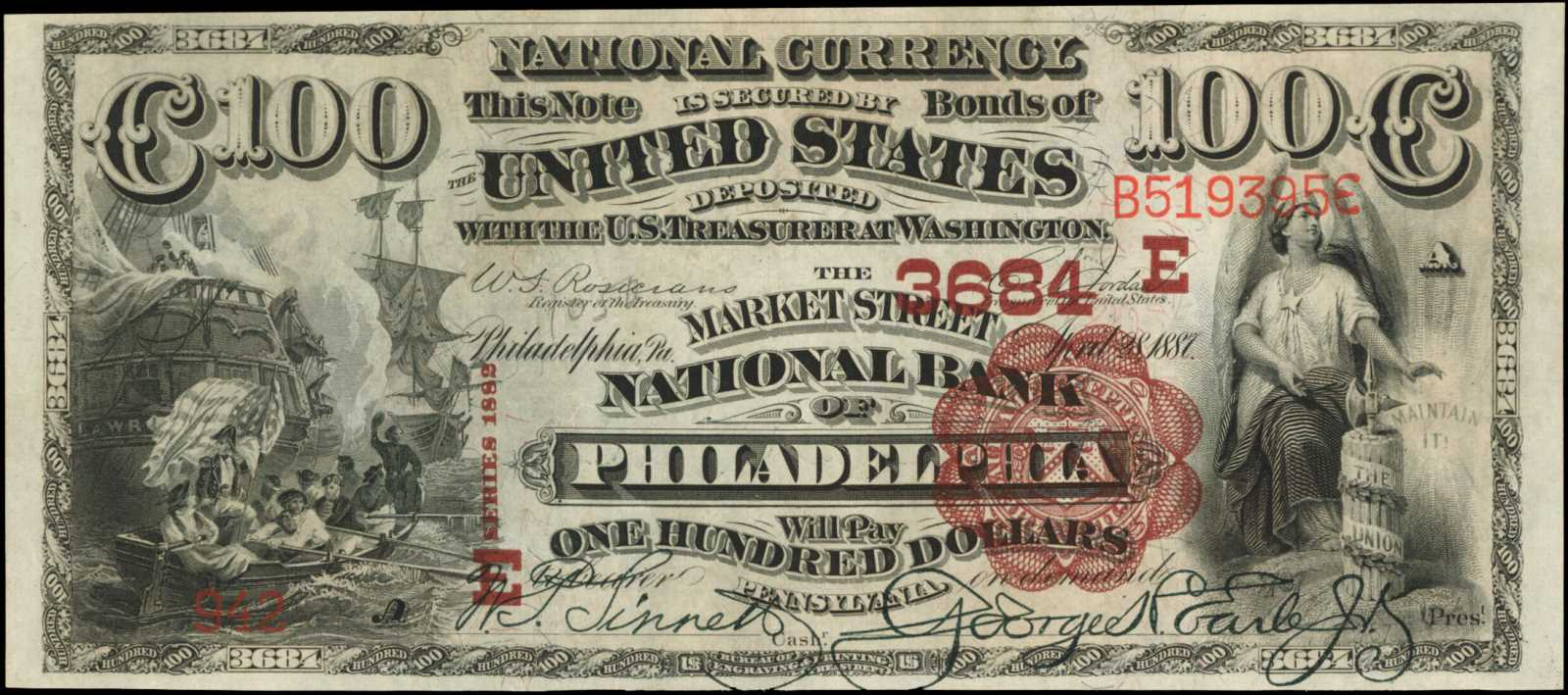 sample image for 1882 2nd Charter Period $100  Brown Back 1st Issue (Fr.# 519531TYPE) [Type]
