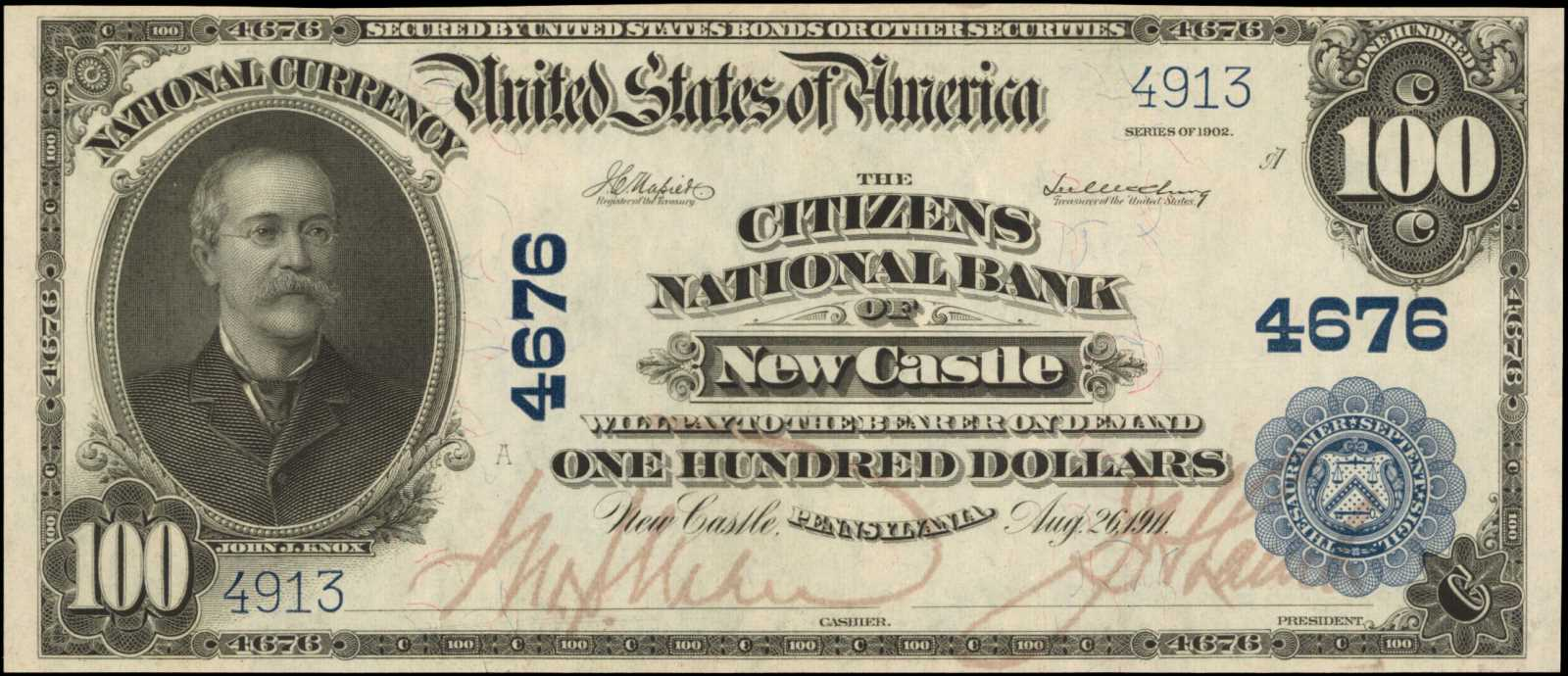 sample image for 1902 3rd Charter Period $100  Plain Back 3rd Issue (Fr.# 702)