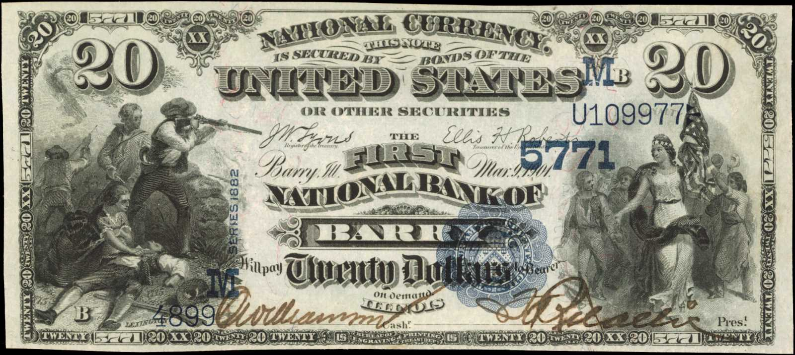 sample image for 1882 2nd Charter Period $20  Value Back 3rd Issue (Fr.# 580585TYPE) [Type]
