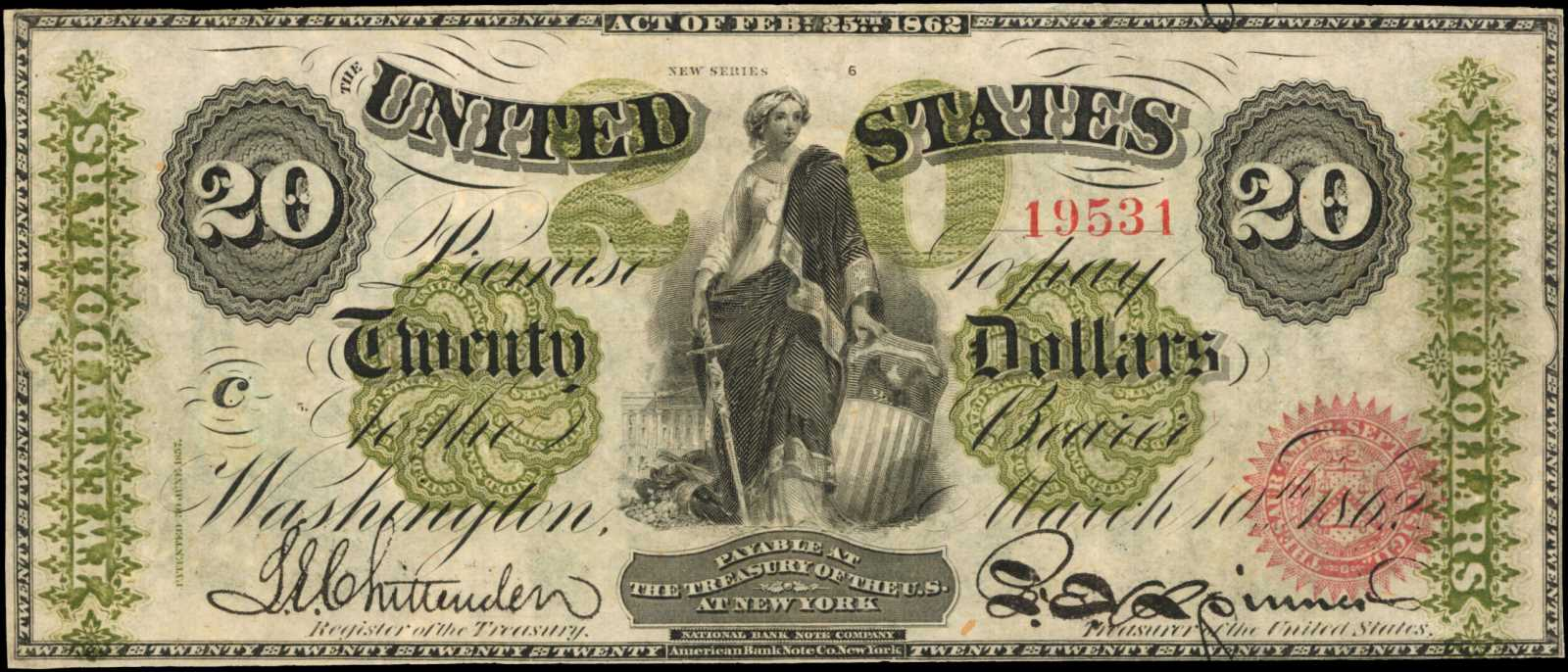 sample image for 1862 $20  Seal Type 2 (Fr.# 125)