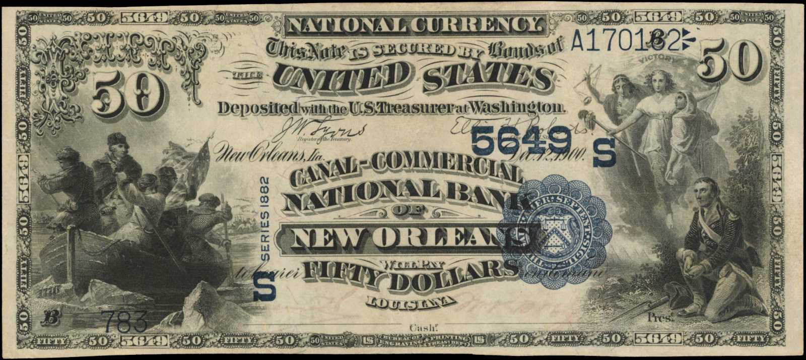 sample image for 1882 2nd Charter Period $50  Value Back 3rd Issue (Fr.# 586)