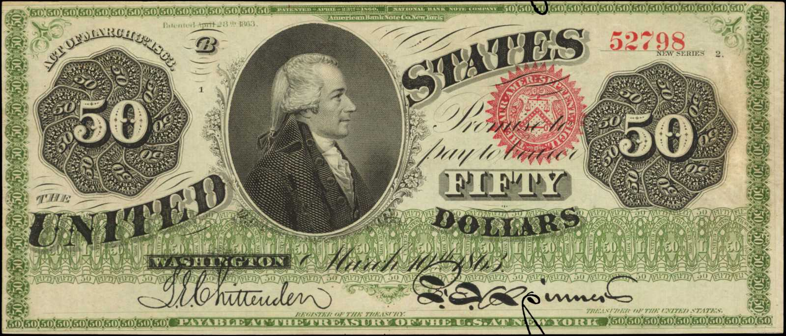 sample image for 1863 $50  Seal Type 2 (Fr.# 150a)