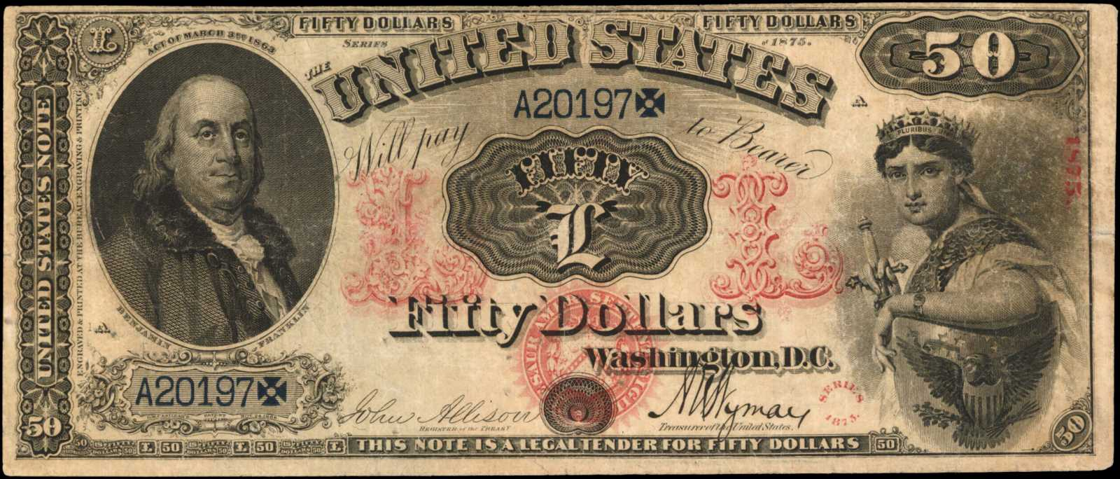 sample image for 1875 $50  (Fr.# 153)