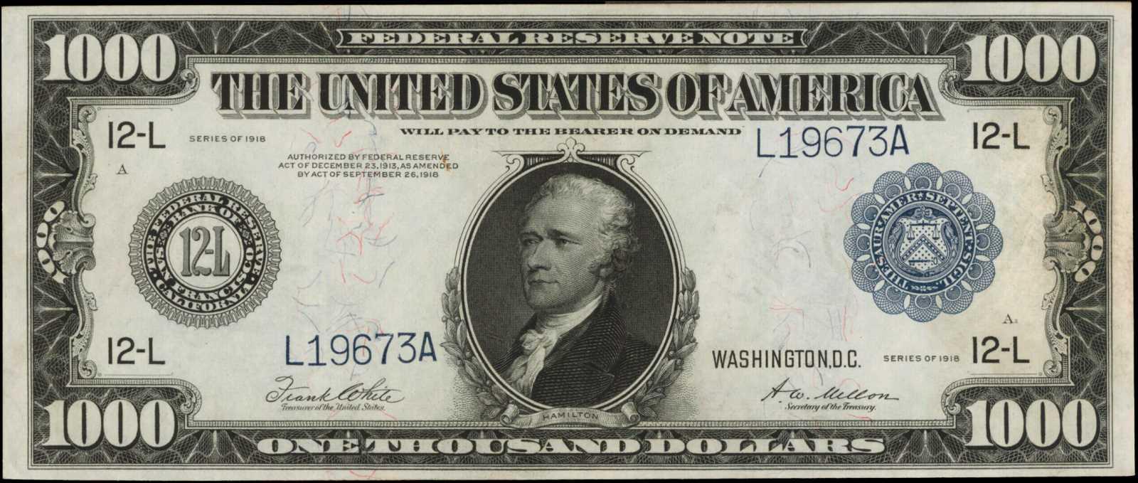 sample image for Fr.1133b-L $1,000 SF