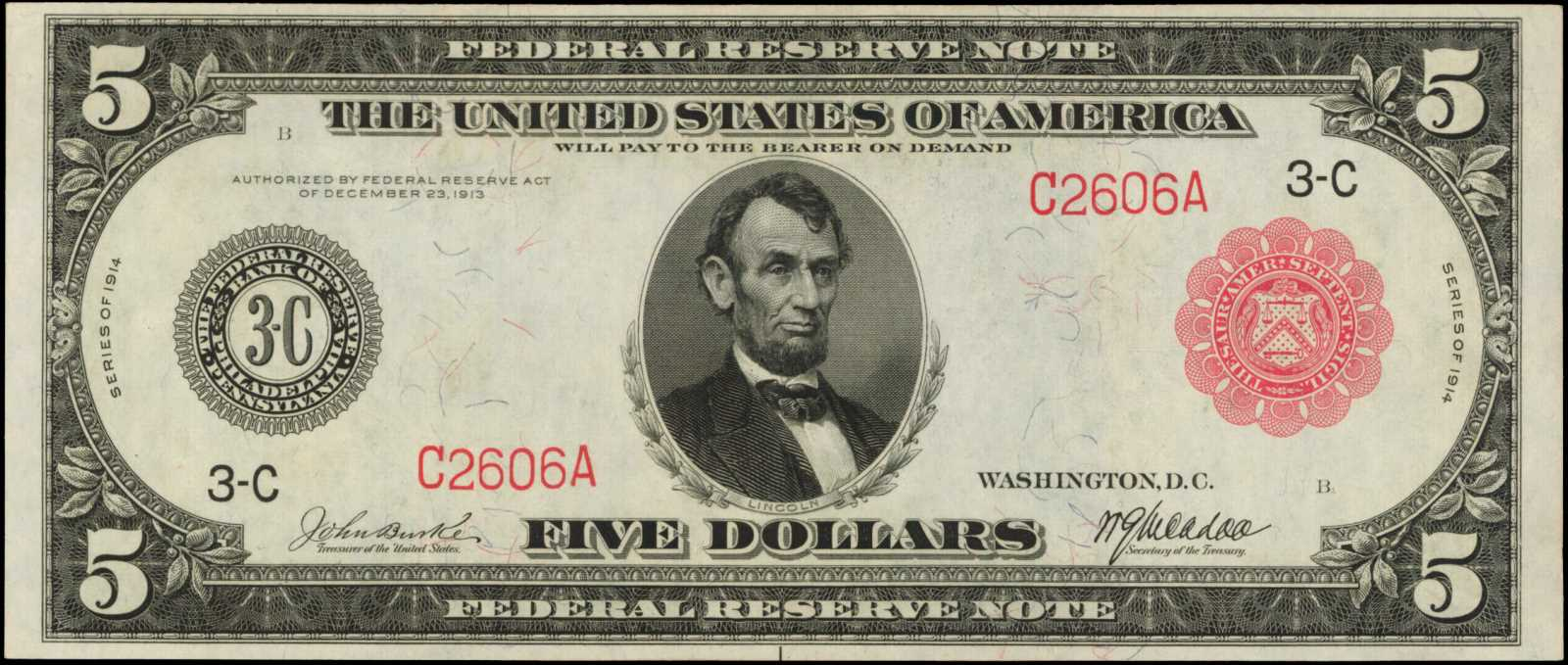 sample image for Fr.834A $5 Philly RS