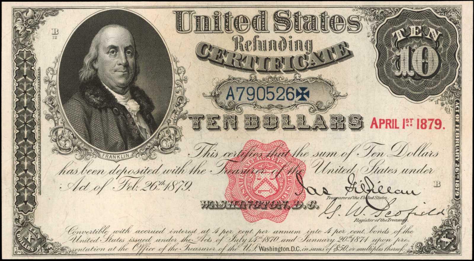 sample image for 1879 Payable to Bearer $10  (Fr.# 214)