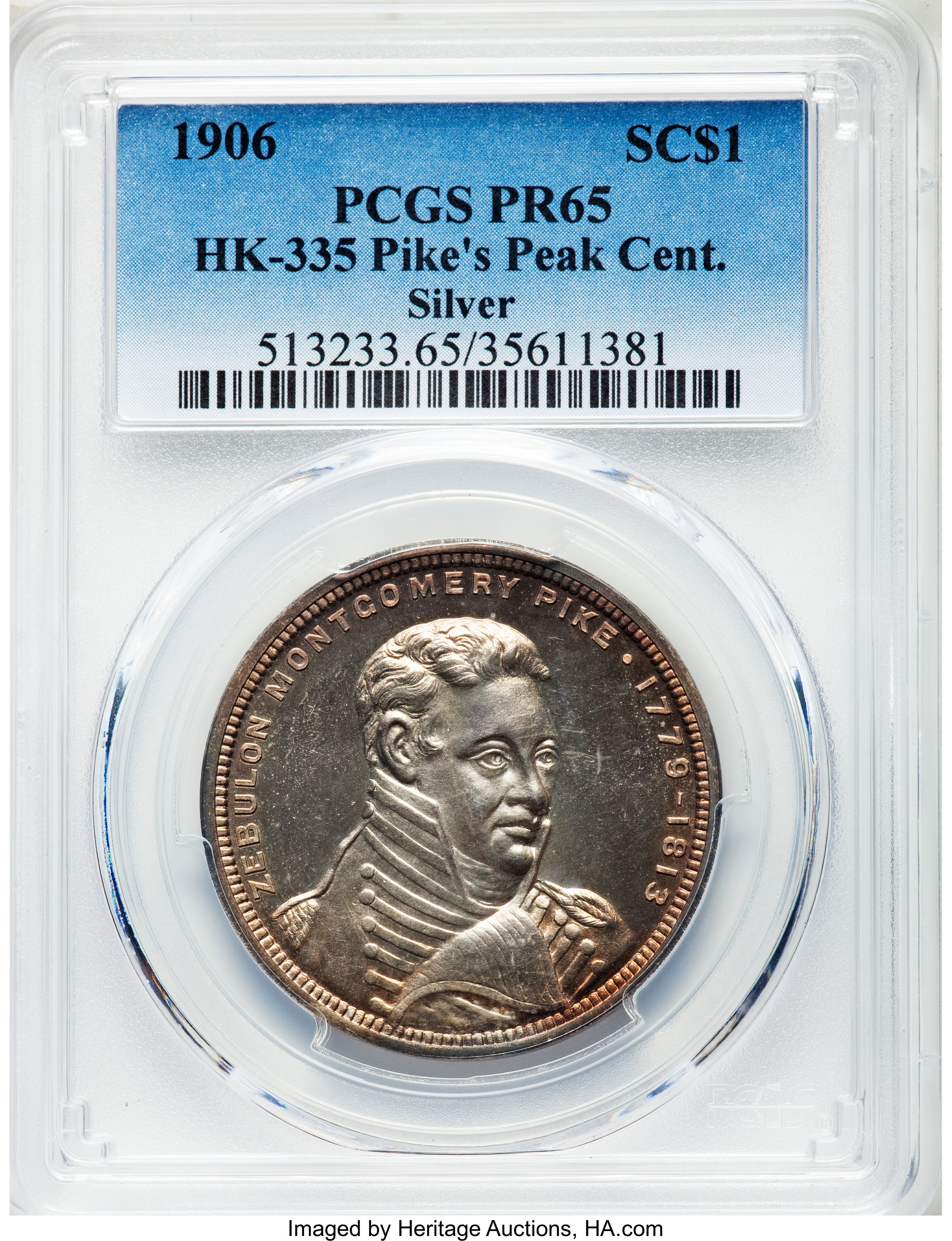 sample image for 1906 Pikes Peak, Official, Silver (proof) SC$1 MS (HK-335)