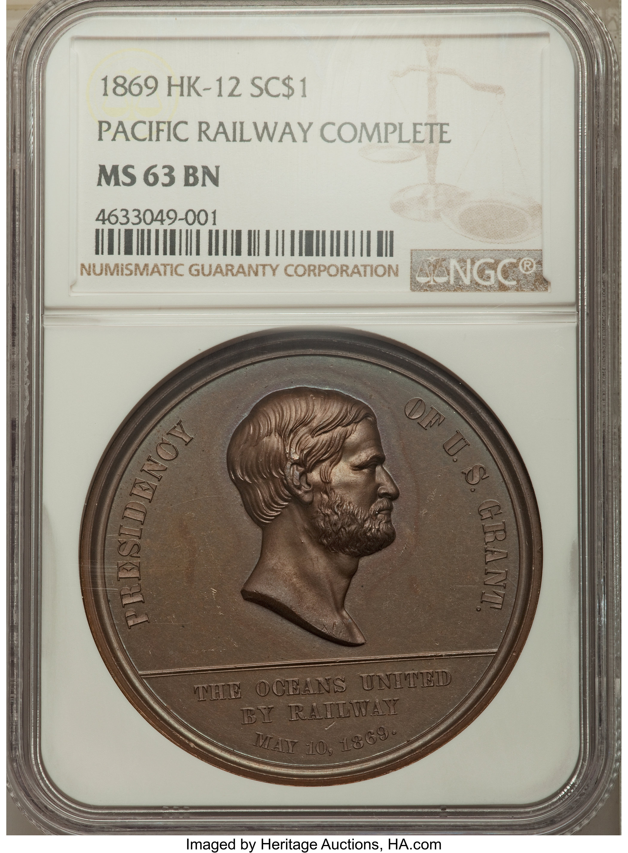 sample image for 1869 Pacific Railway, Bronze SC$1 MS BN (HK-12)
