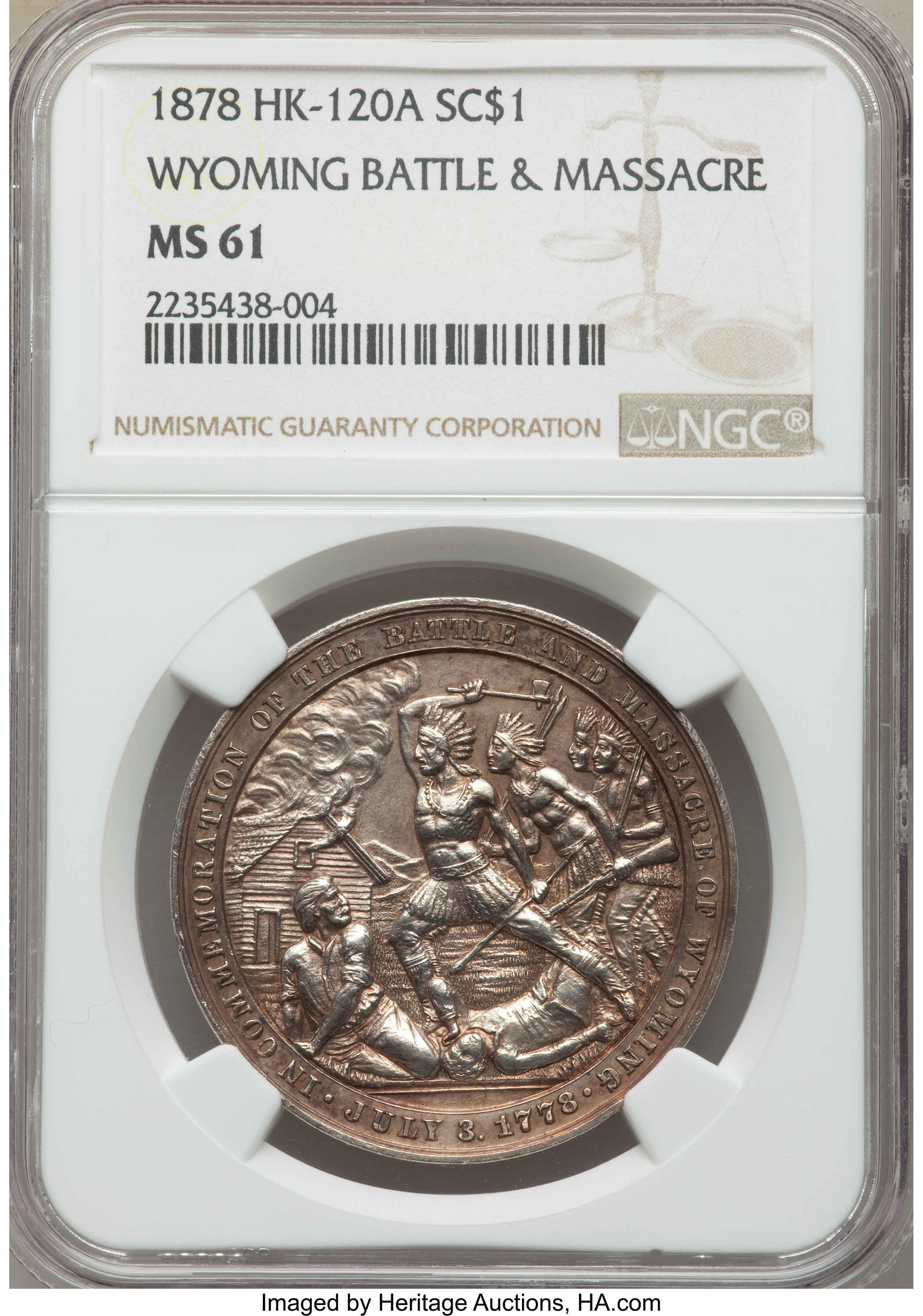 sample image for 1878 Wyoming Battle, Silver SC$1 MS (HK-120a)