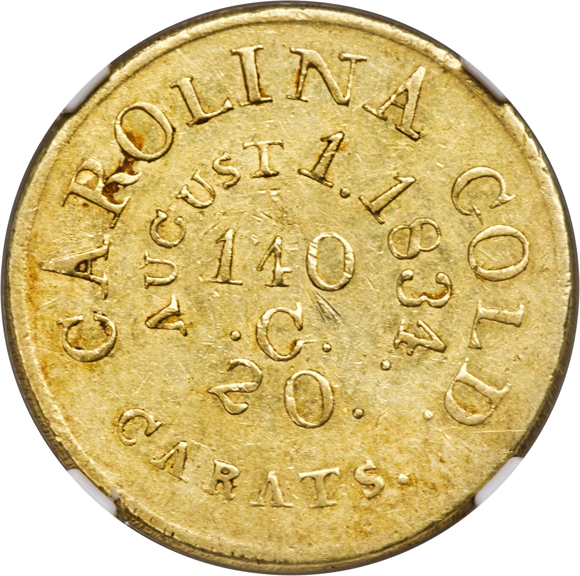 sample image for 1834 $5 C. Bechtler RUTHERFORD, 20 GR, Distant 20 (K-19)