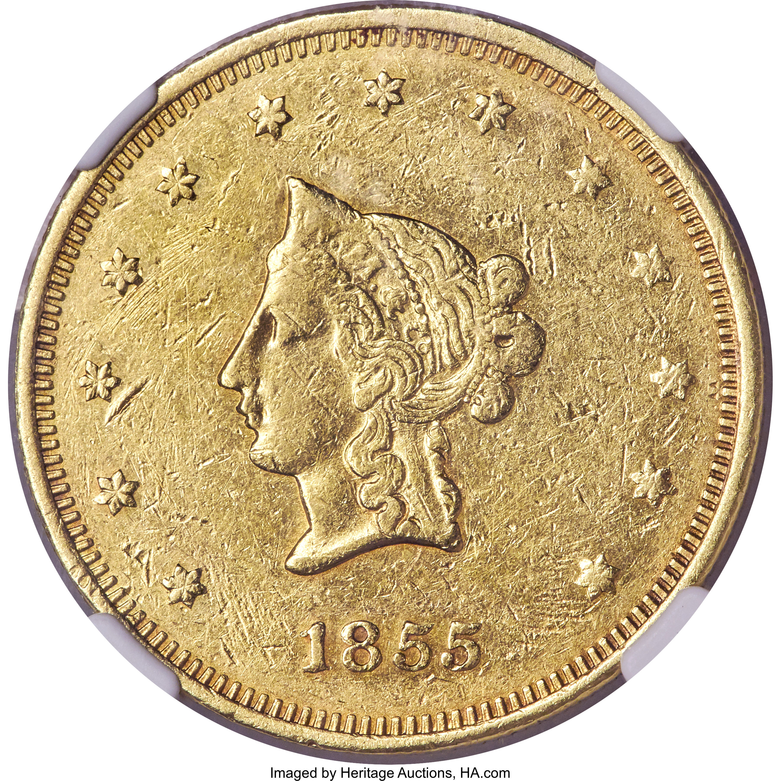sample image for 1855 $20 Wass Mol Co, Small Head (K-7)