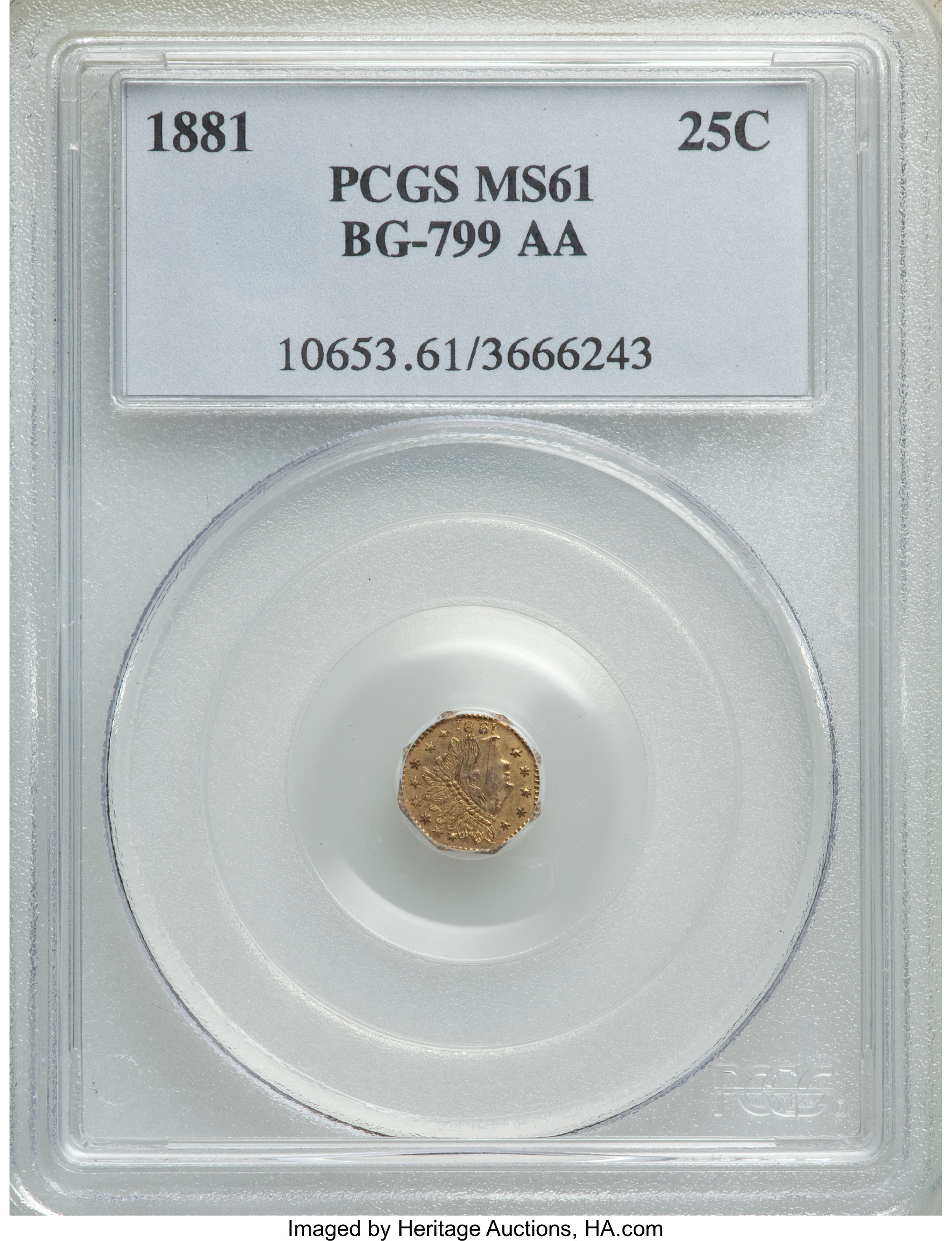 sample image for 1881 Cal. Gold 25c MS (BG-799AA)