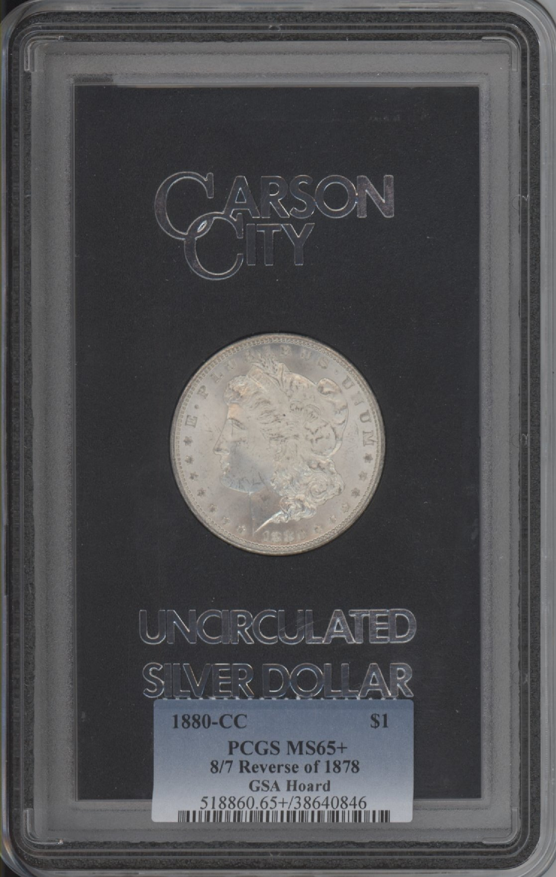 sample image for 1880-CC $1  MS GSA Hoard Reverse of 1878