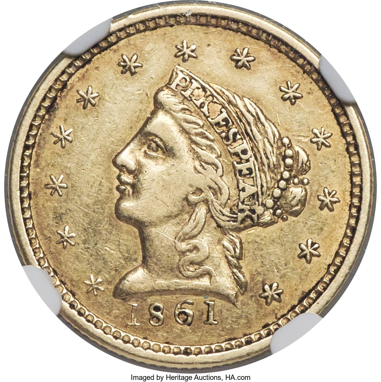 sample image for 1861 $2 1/2 Clark Gruber