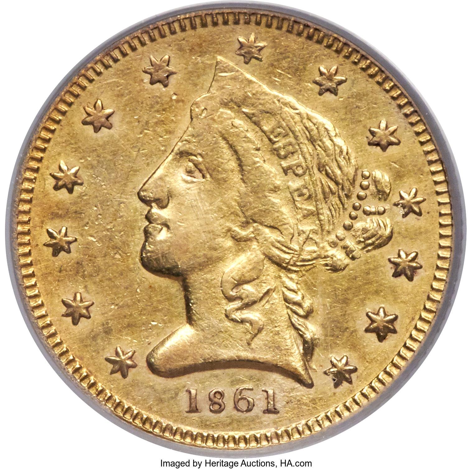 sample image for 1861 $5 Clark Gruber