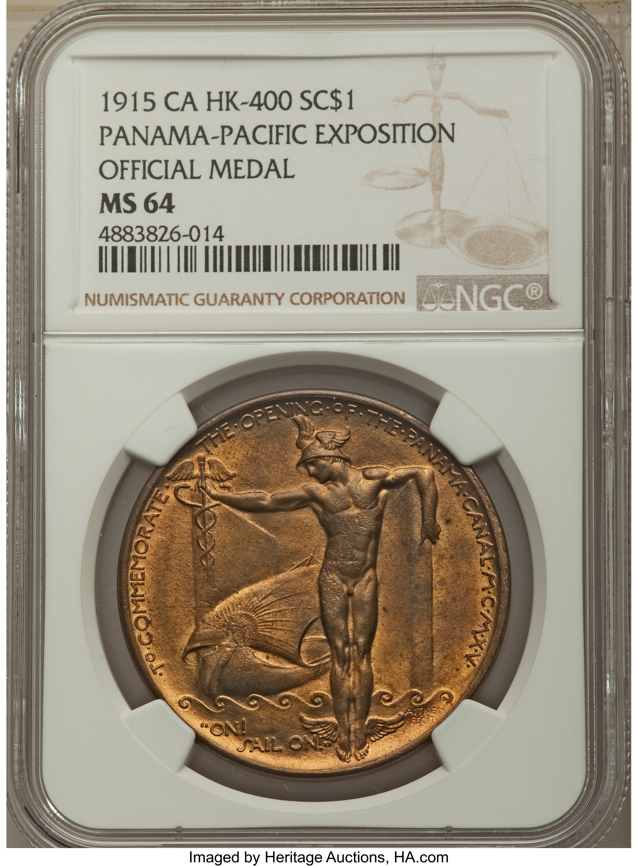 sample image for 1915 Pan-Pac Expo, Official, Bronze SC$1 MS BN (HK-400)
