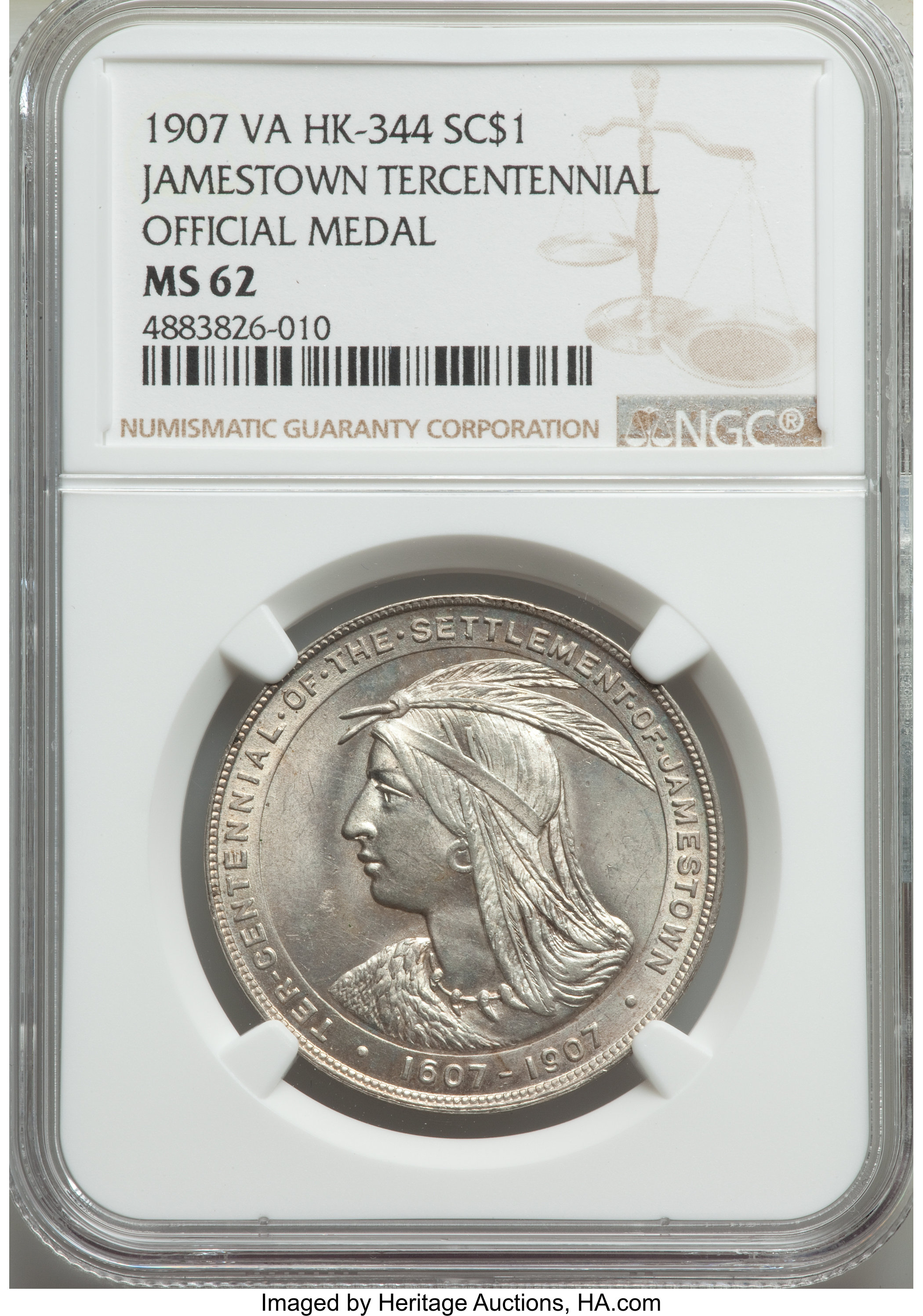 sample image for 1907 Jamestown, Official, Silver SC$1 MS (HK-344)