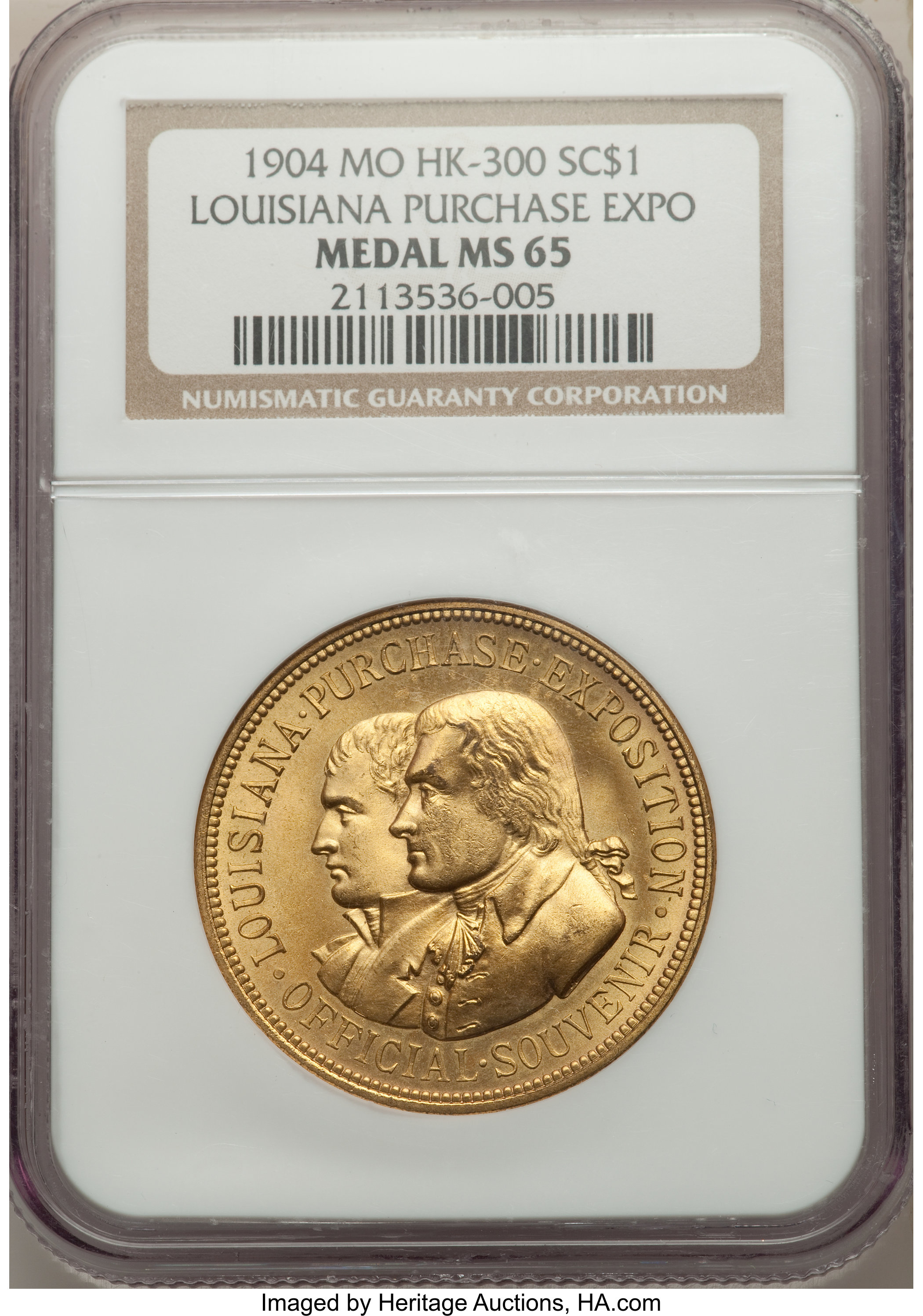 sample image for 1904 LA Purchase Expo, Official, Gold-plated bronze SC$1 MS (HK-300)