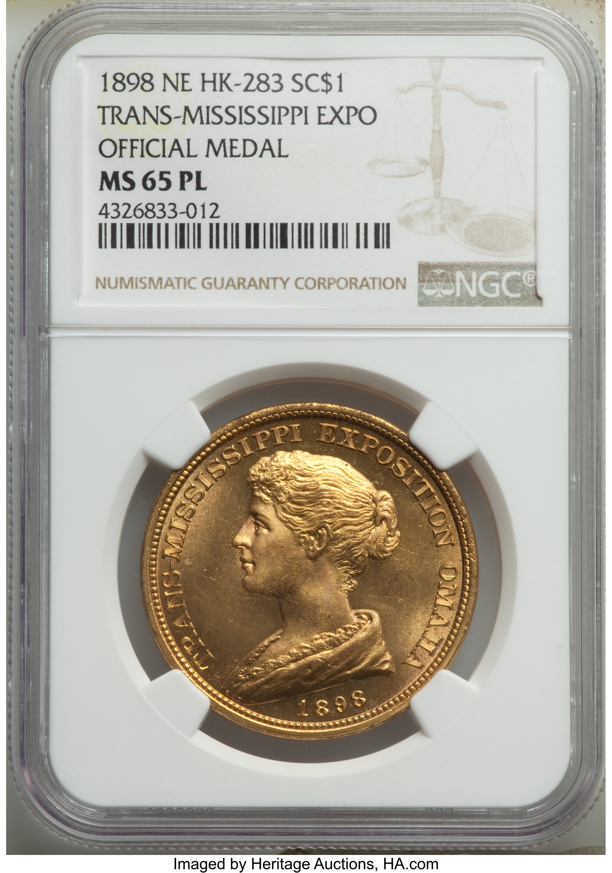 sample image for 1898 Trans Miss Expo, Official, Brass SC$1 MS (HK-283)