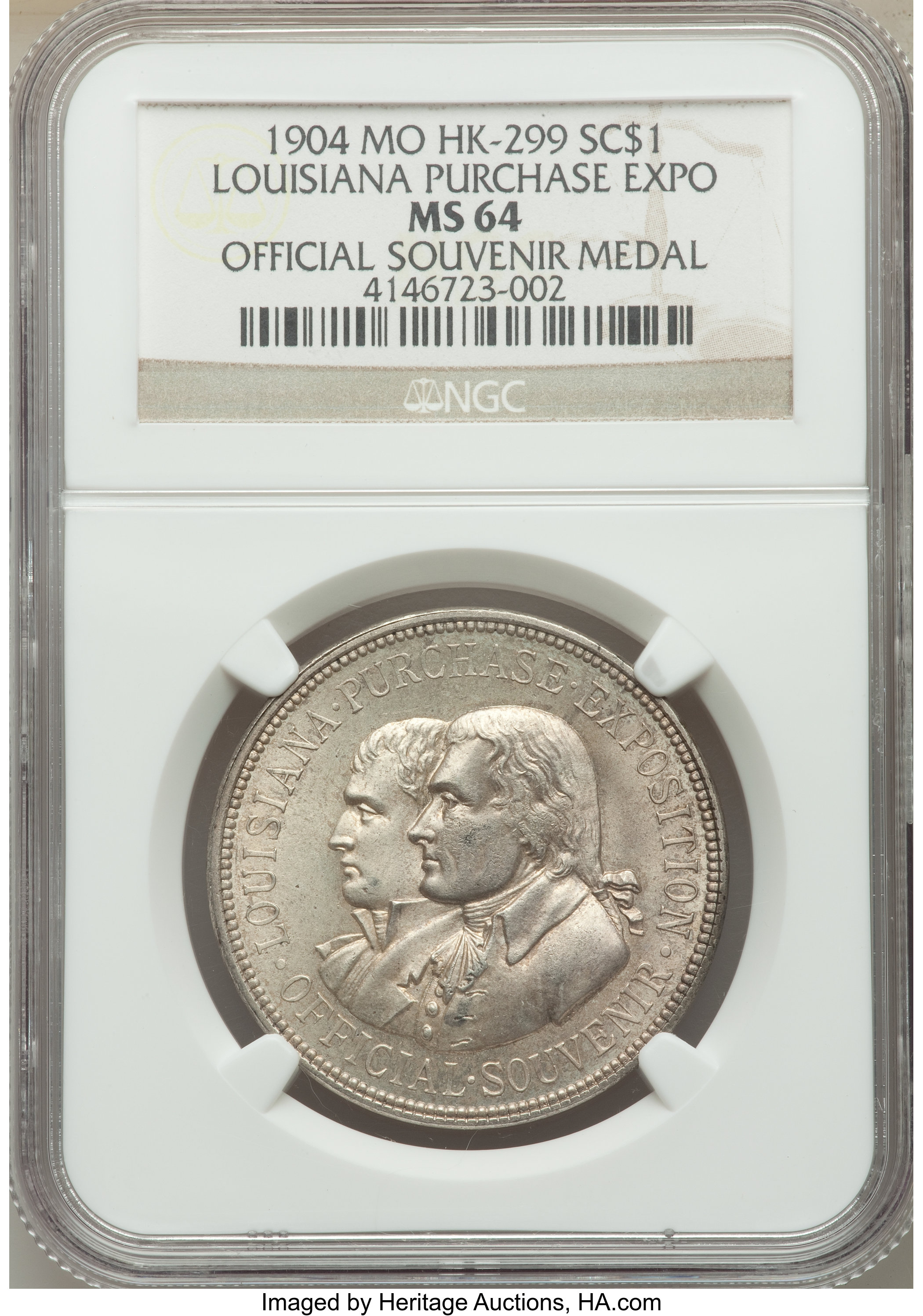 sample image for 1904 LA Purchase Expo, Official, Silver SC$1 MS (HK-299)