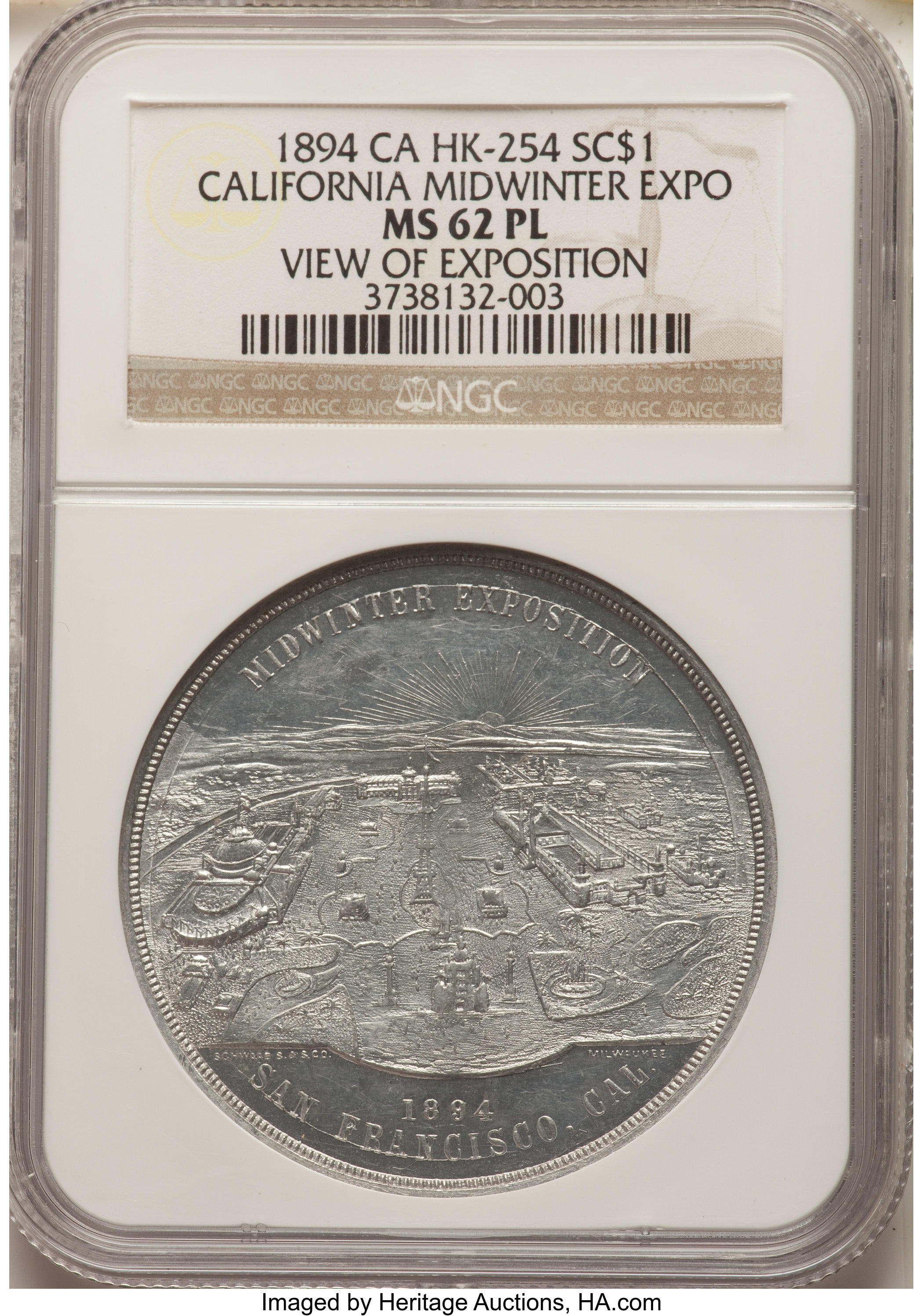 sample image for 1894 Cal Expo, DeYoung, Expo View, 5 Edifices Rev, Aluminum SC$1 MS (HK-254)