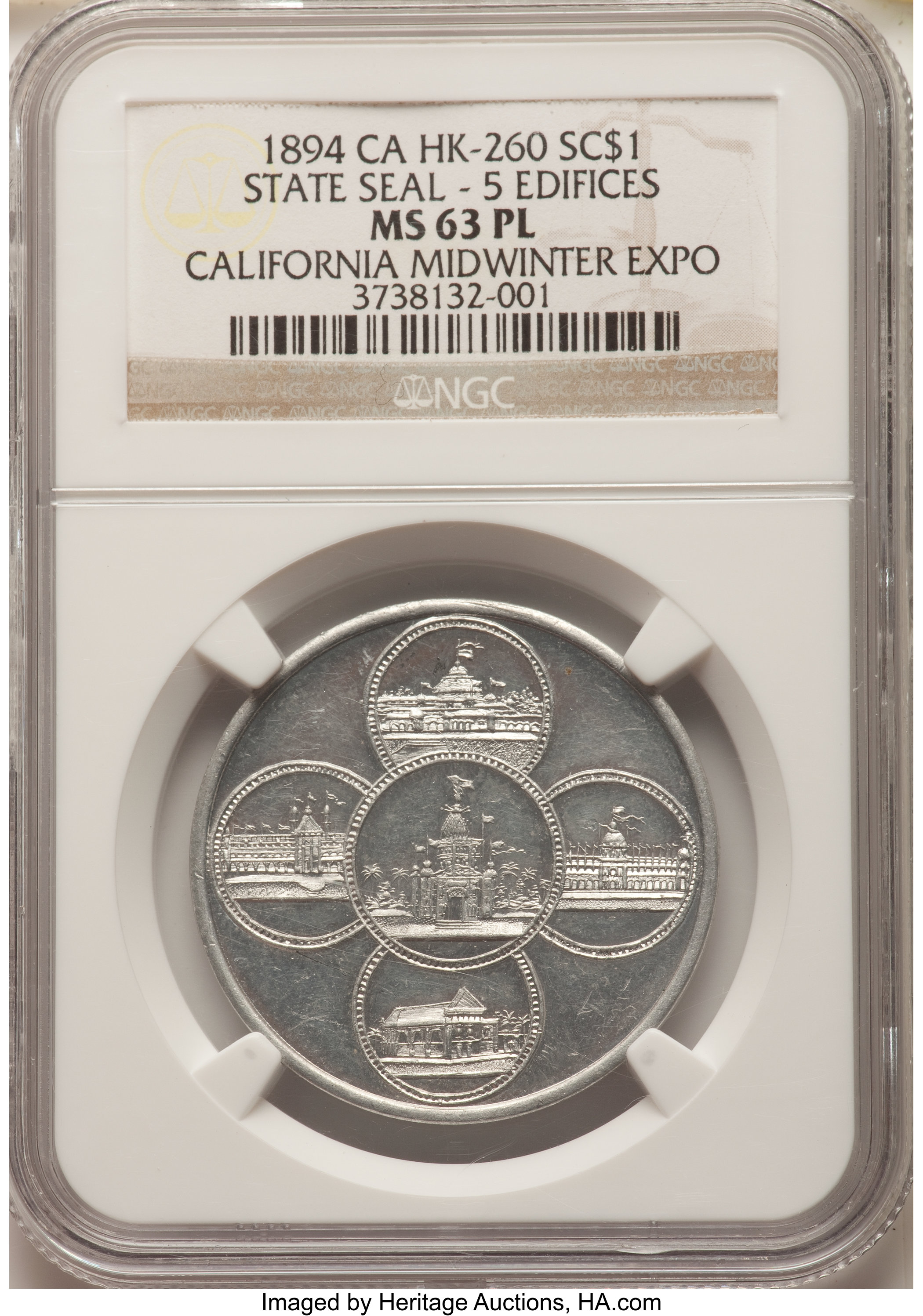 sample image for 1894 Cal Expo, State Seal, 5 Edifices rev, Aluminum SC$1 MS (HK-260)