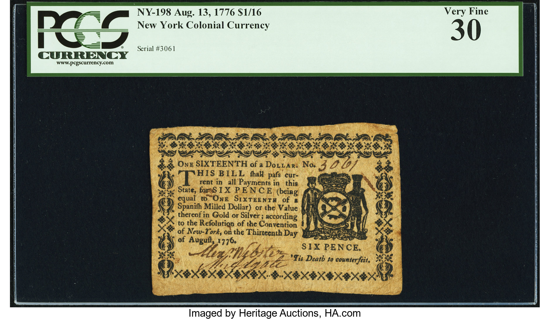 sample image for 1776 August 13 $1/16 (Fr.# NY198)
