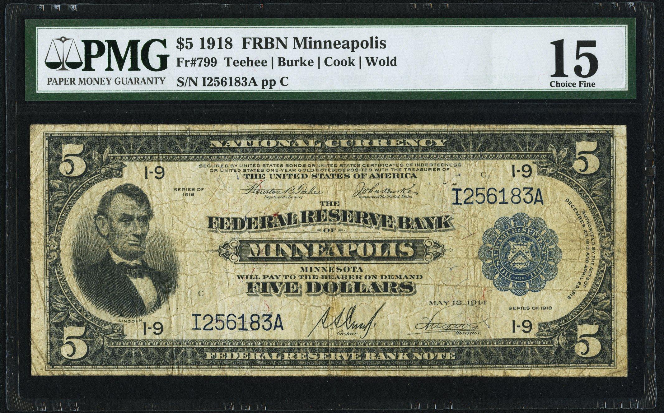 sample image for 1918 $5  Minneapolis (Fr.# 799)