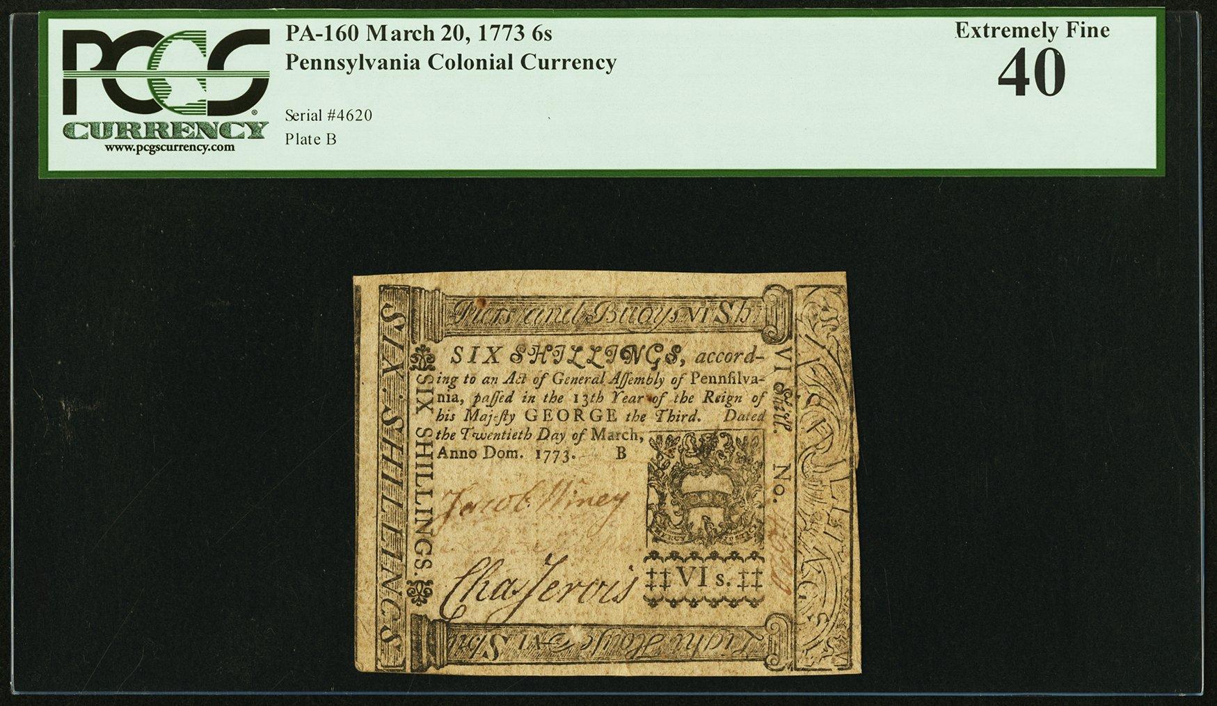 sample image for 1773 20-Mar 6s (Fr.# PA160)