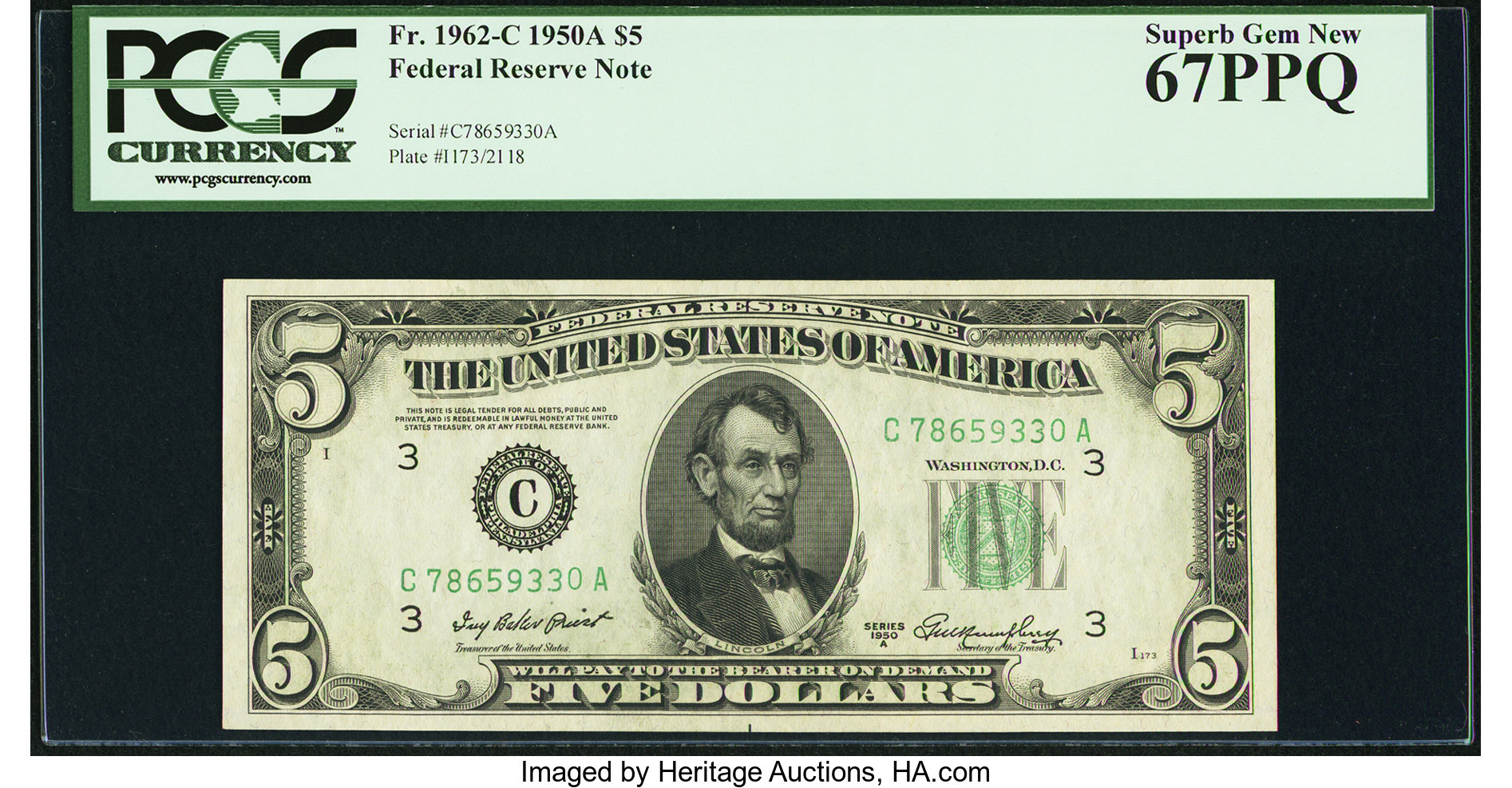 sample image for 1950A Dark Green Seal $5  (Fr.# 1962C)