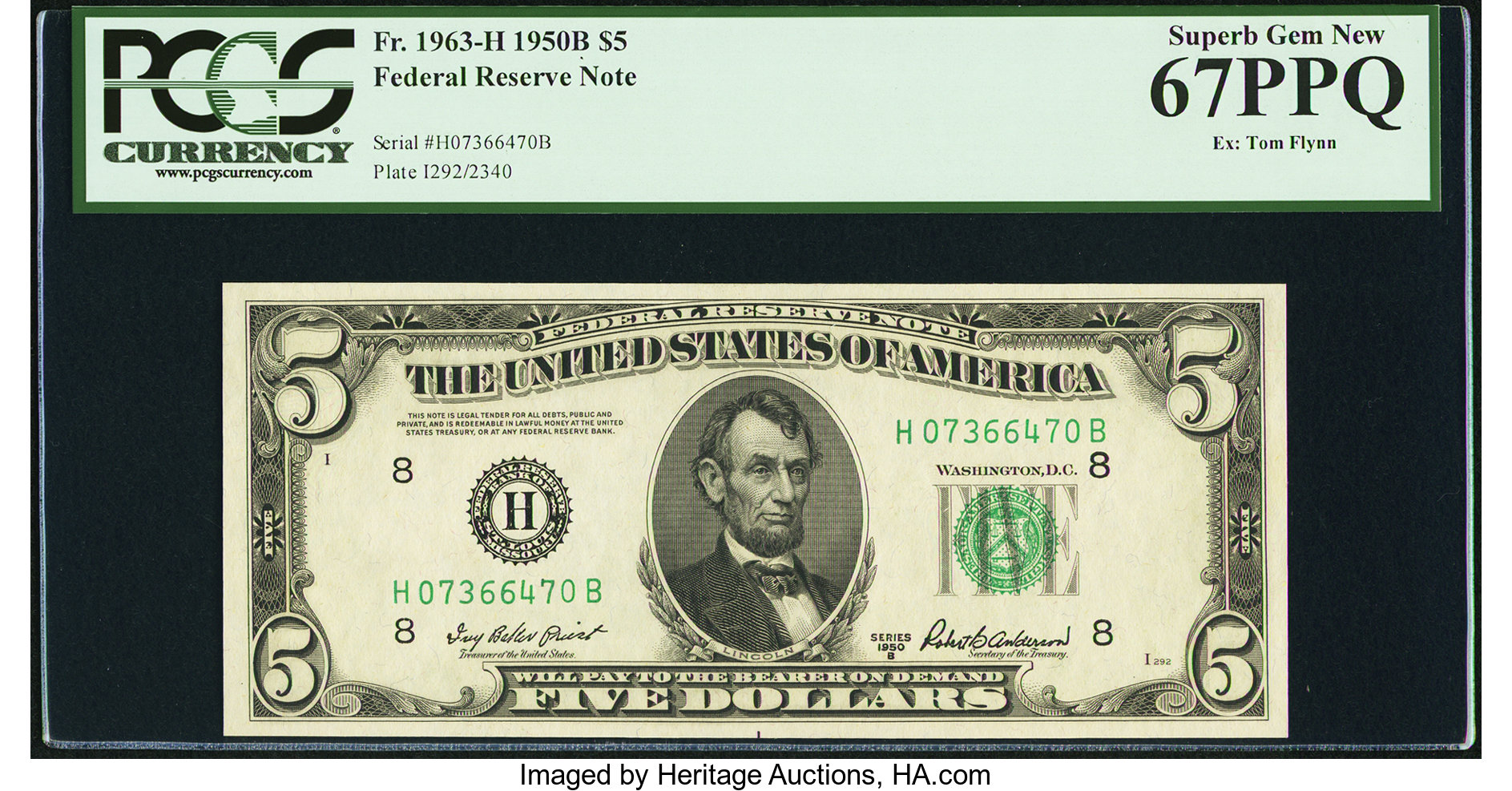 sample image for 1950B Dark Green Seal $5  (Fr.# 1963H)