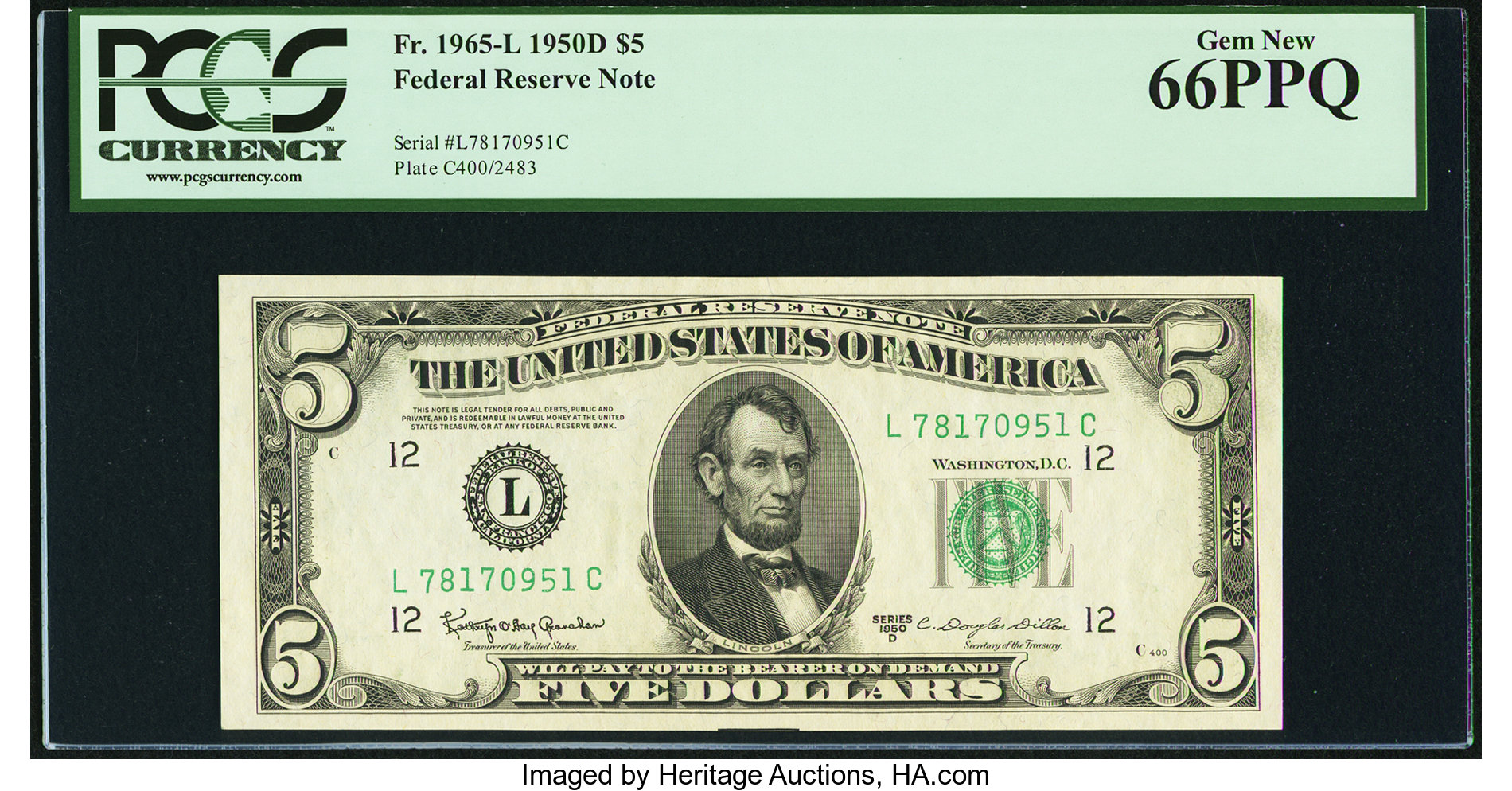 sample image for 1950D Dark Green Seal $5  (Fr.# 1965L)