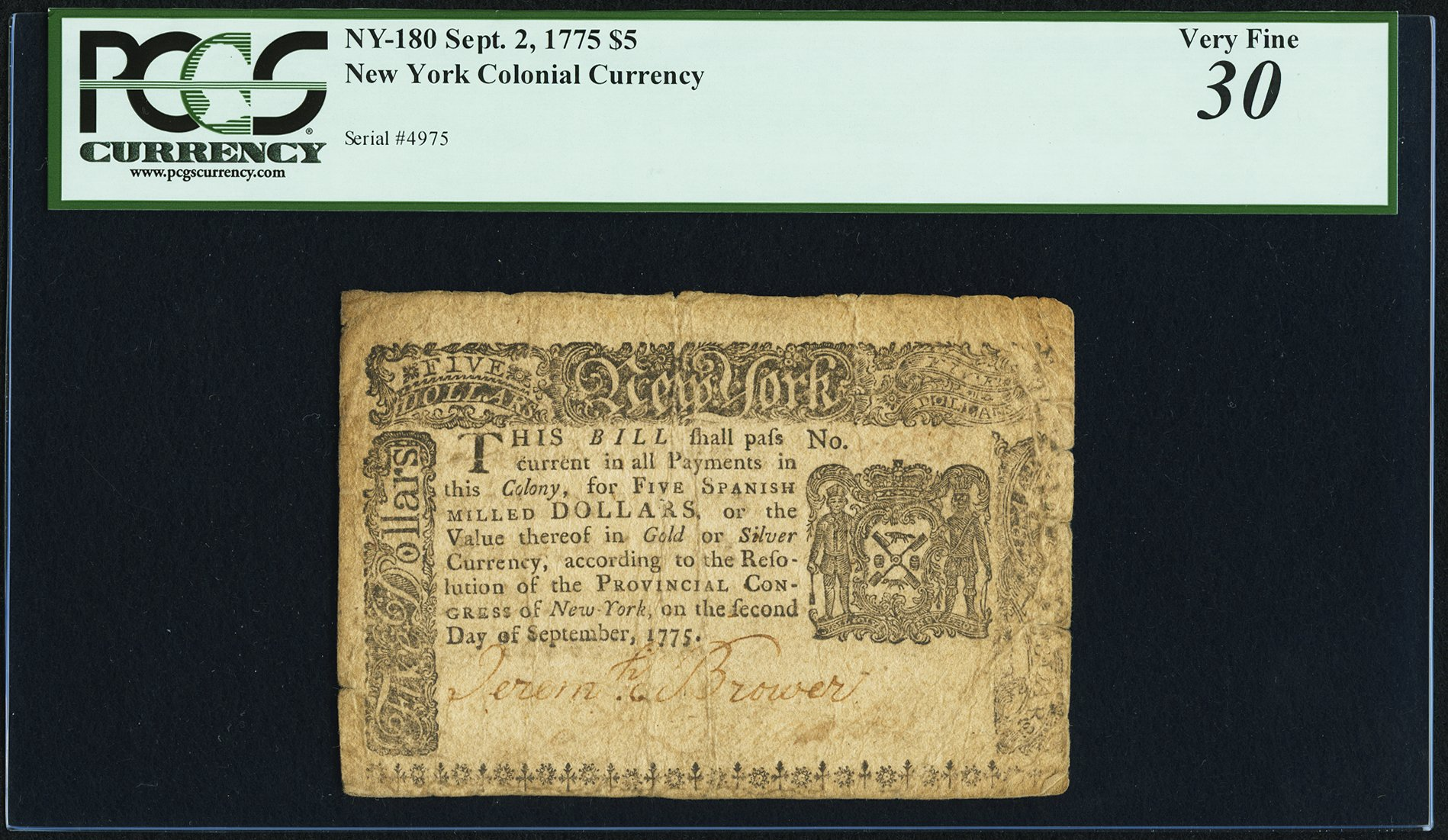 sample image for 1775 2-Sep $5  (Fr.# NY180)