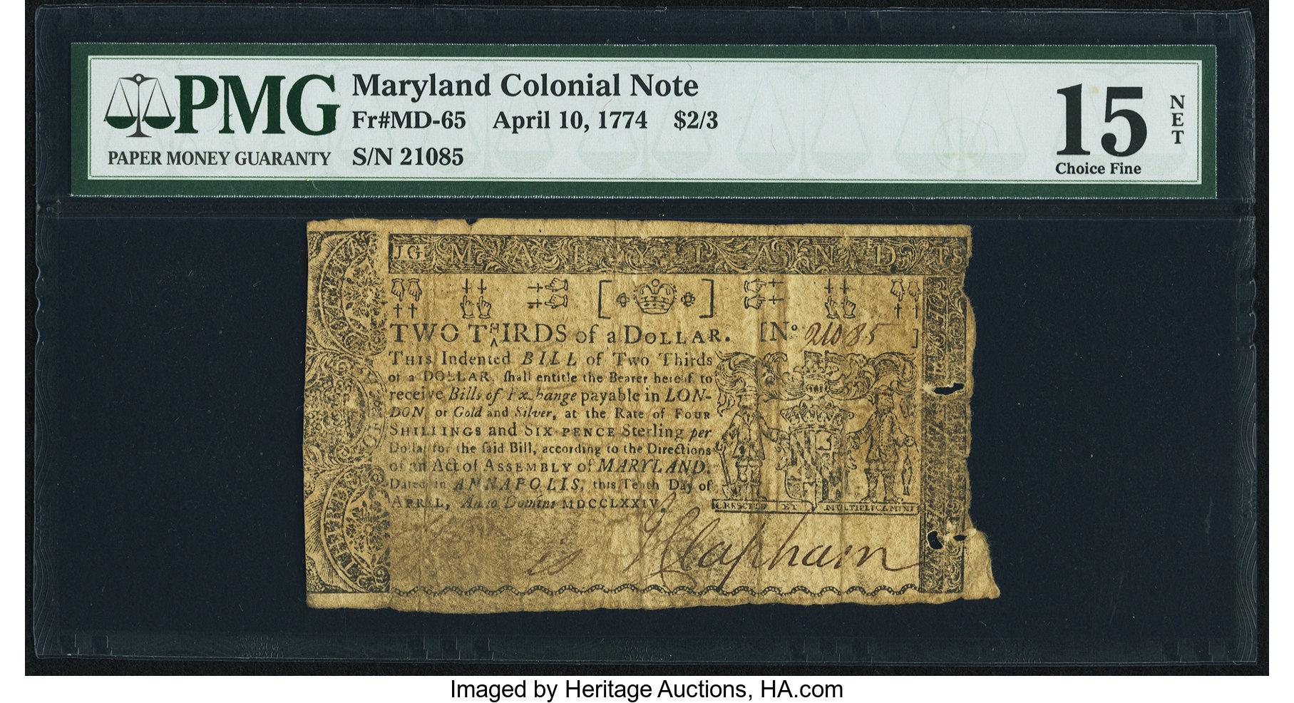 sample image for 1774 10-Apr $2/3 (Fr.# MD65)