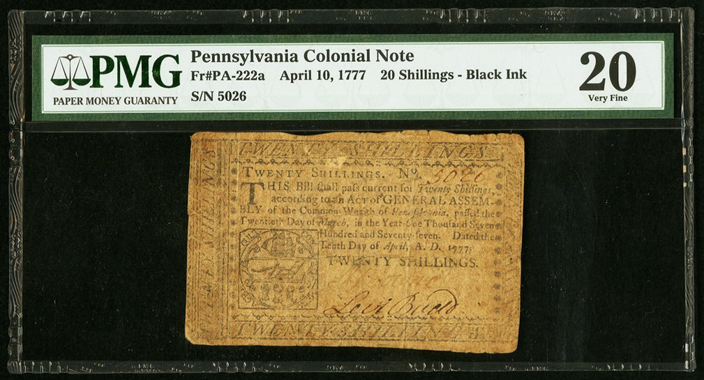 sample image for 1777 10-Apr 20s (Fr.# PA222b)