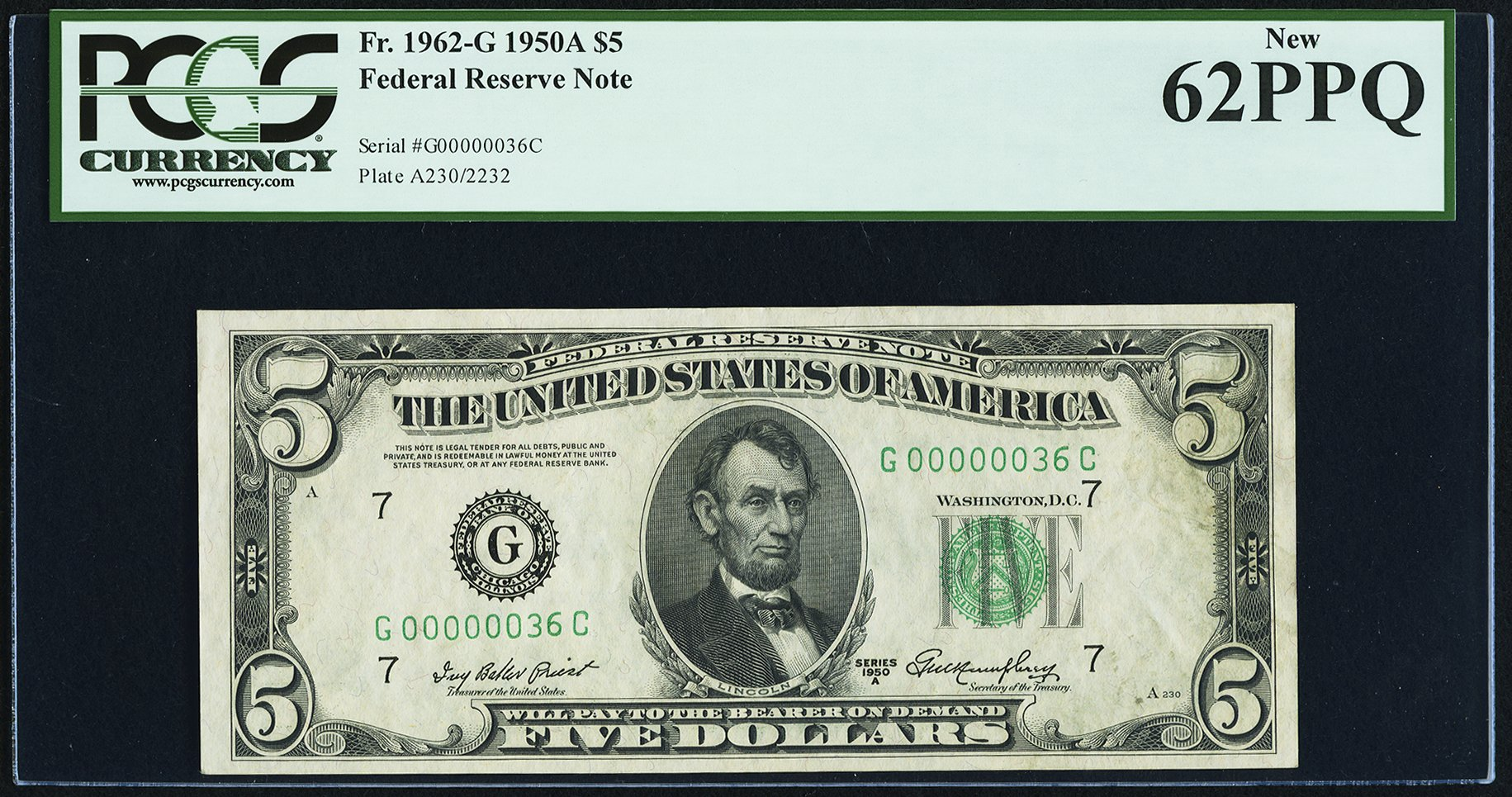 sample image for 1950A Dark Green Seal $5  (Fr.# 1962G)