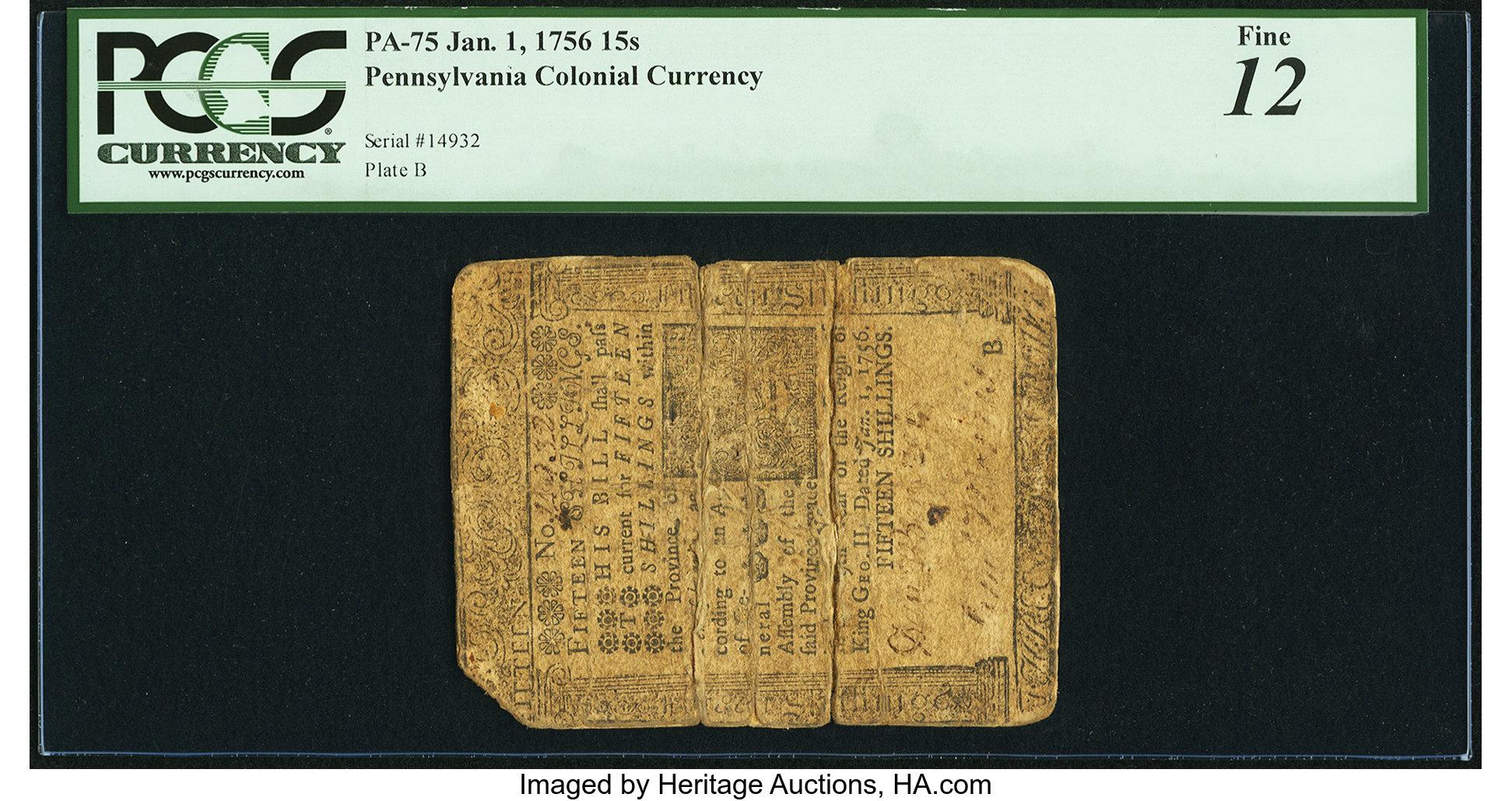 sample image for 1756 1-Jan 15s (Fr.# PA75)