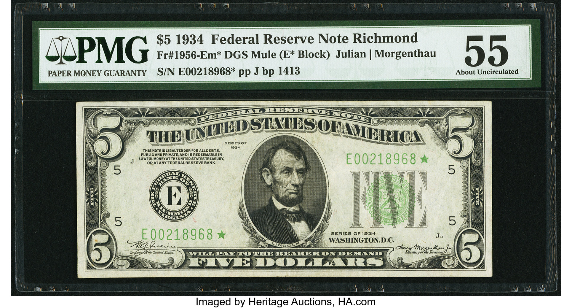 sample image for 1934 Dark Green Seal $5  Richmond (Fr.# 1956E)