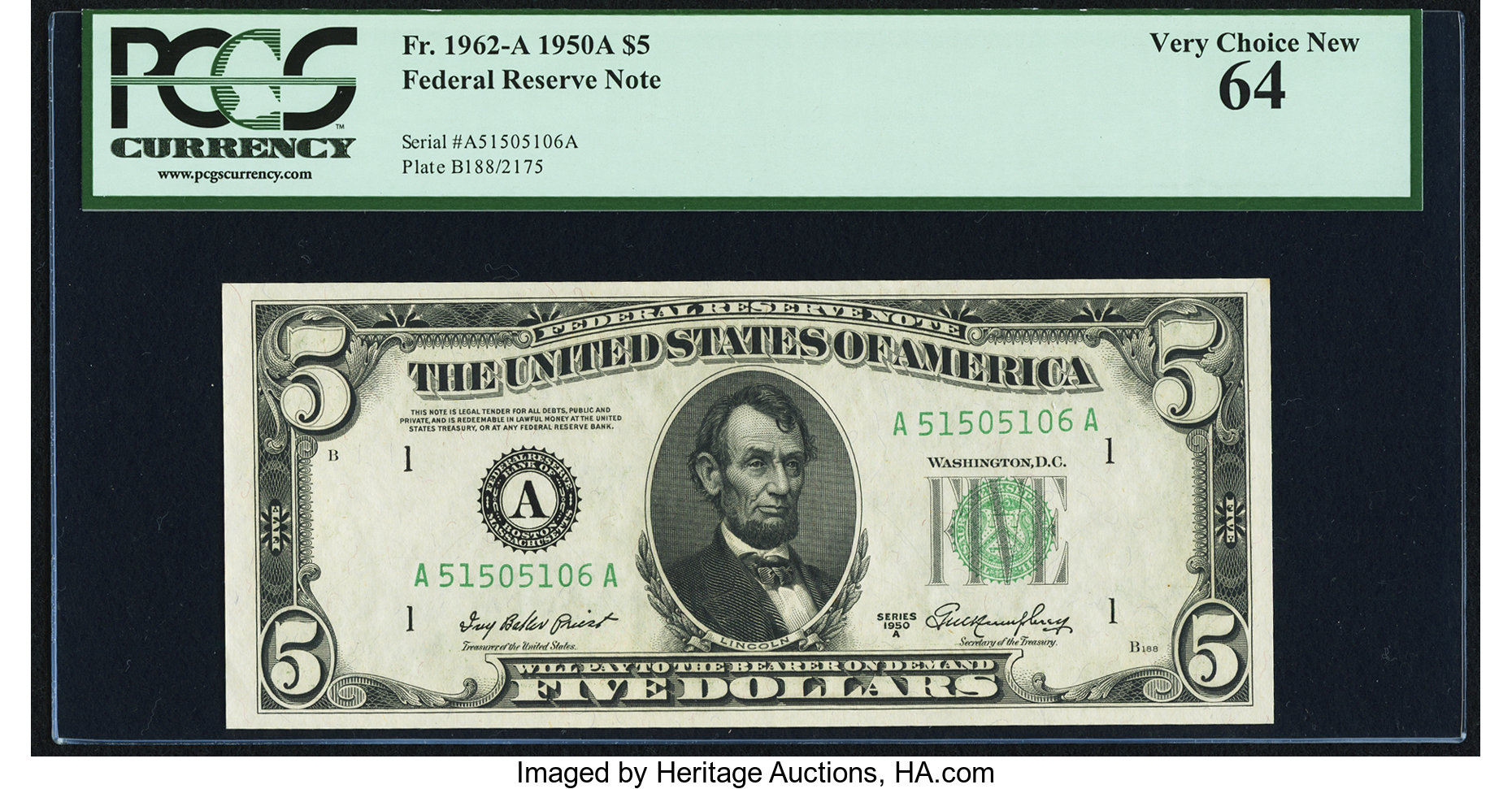 sample image for 1950A Dark Green Seal $5  (Fr.# 1962A)