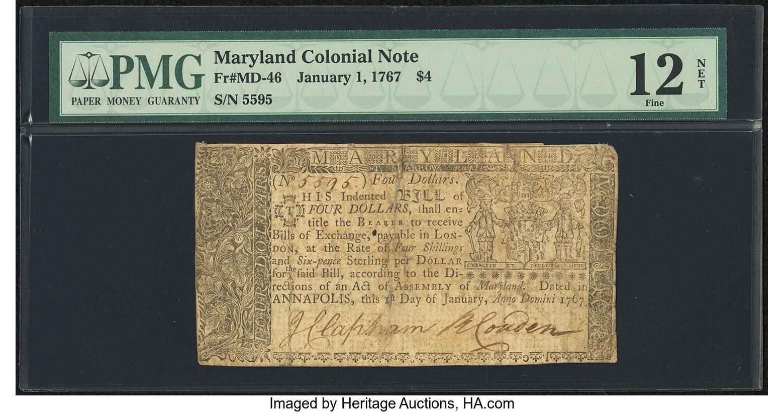 sample image for 1767 1-Jan $4  (Fr.# MD46)