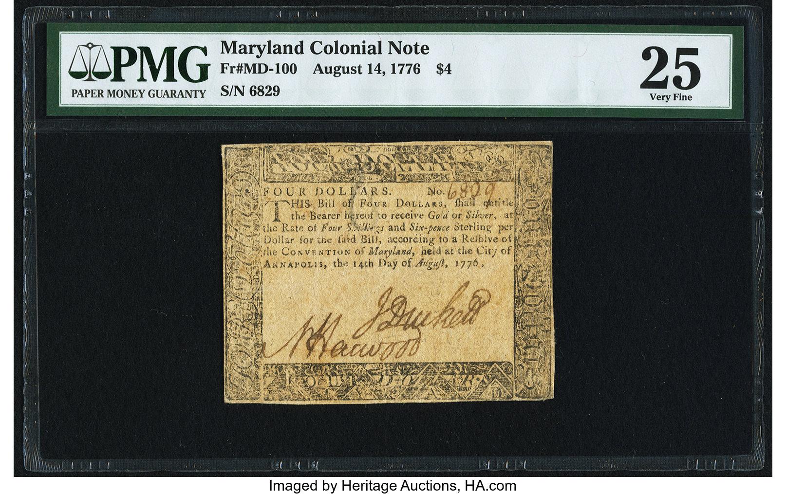sample image for 1776 14-Aug $4  (Fr.# MD100)