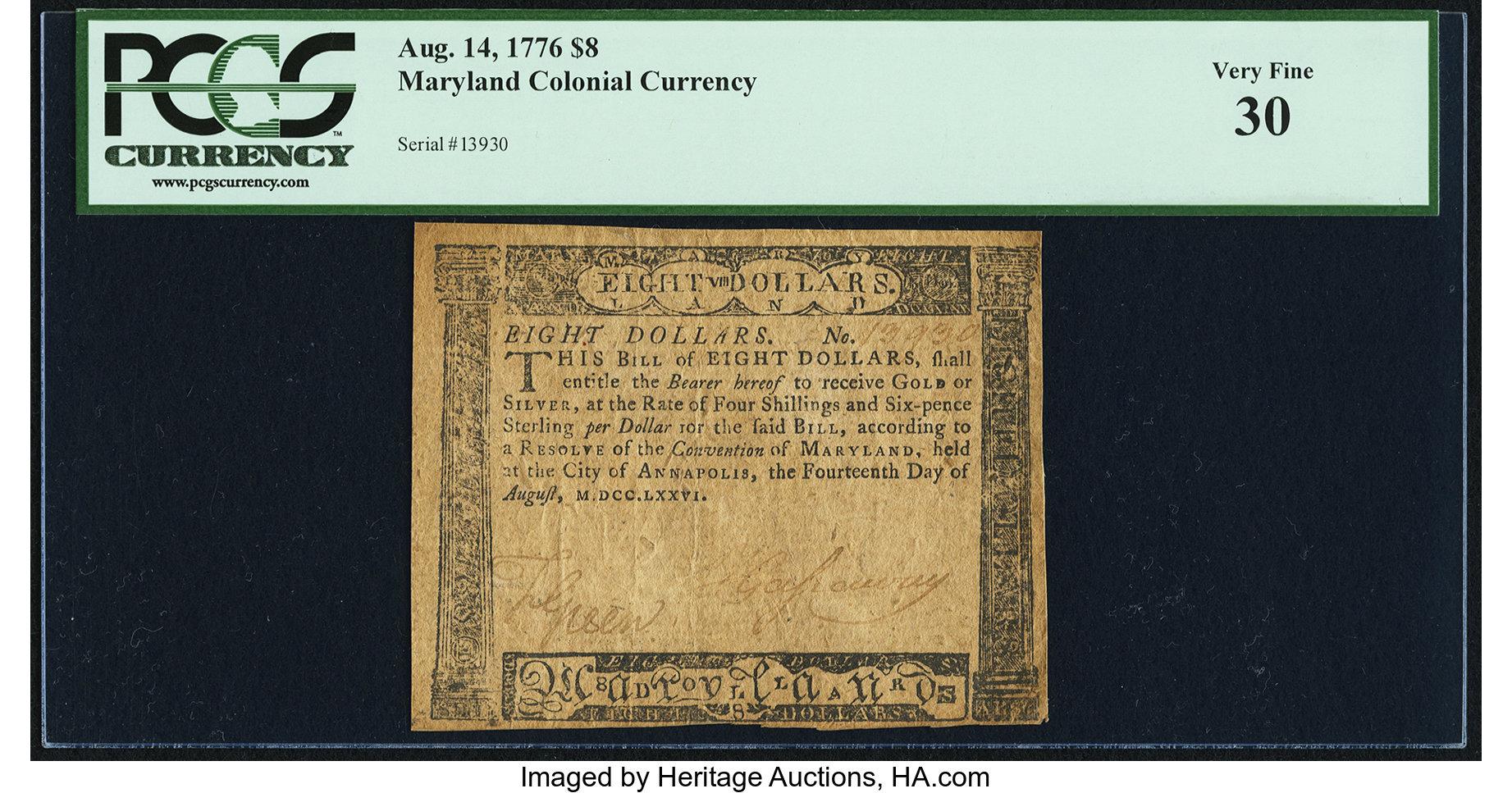 sample image for 1776 14-Aug $8  (Fr.# MD102)