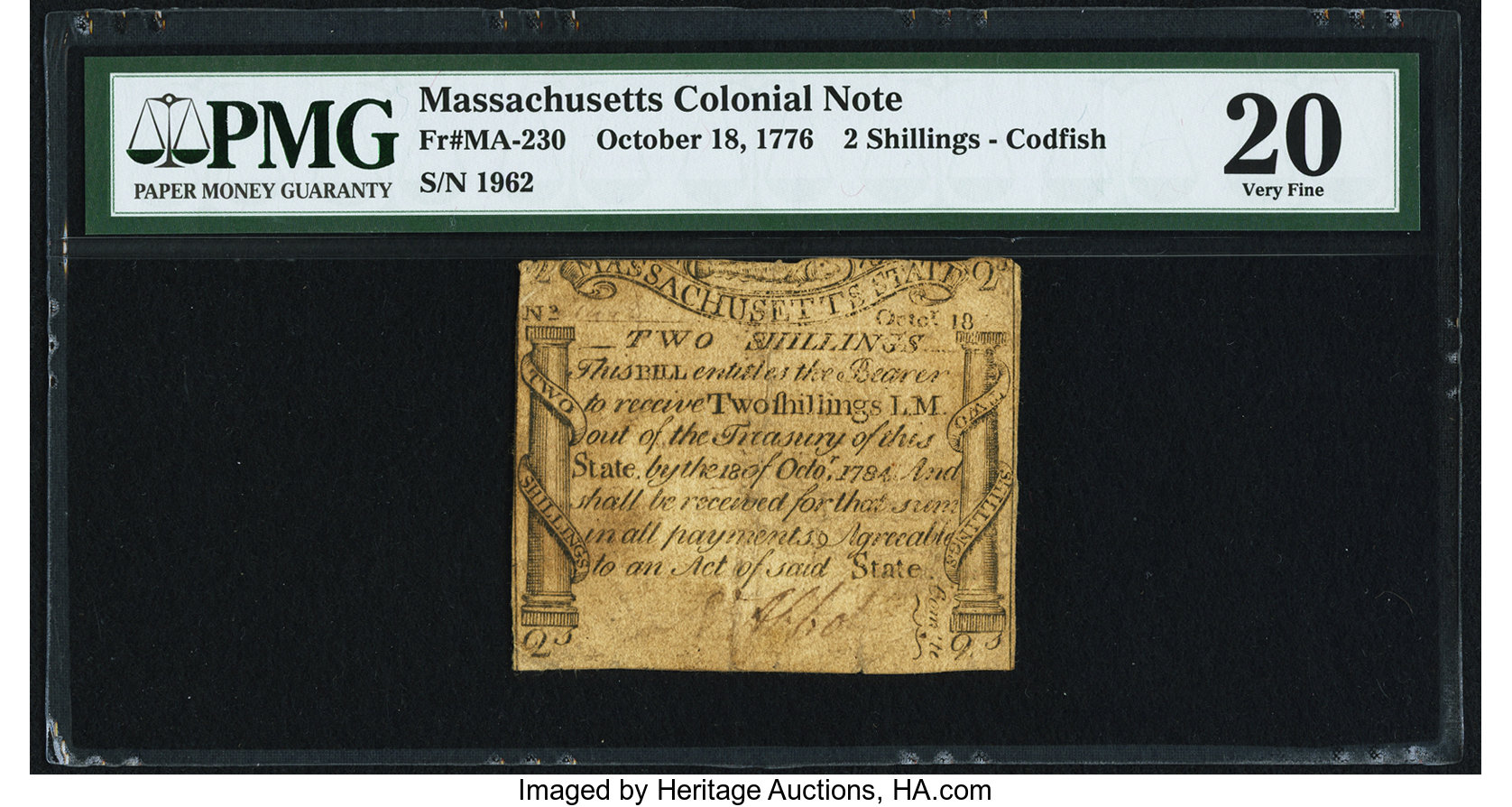 sample image for 1776 18-Oct 2s (Fr.# MA230)