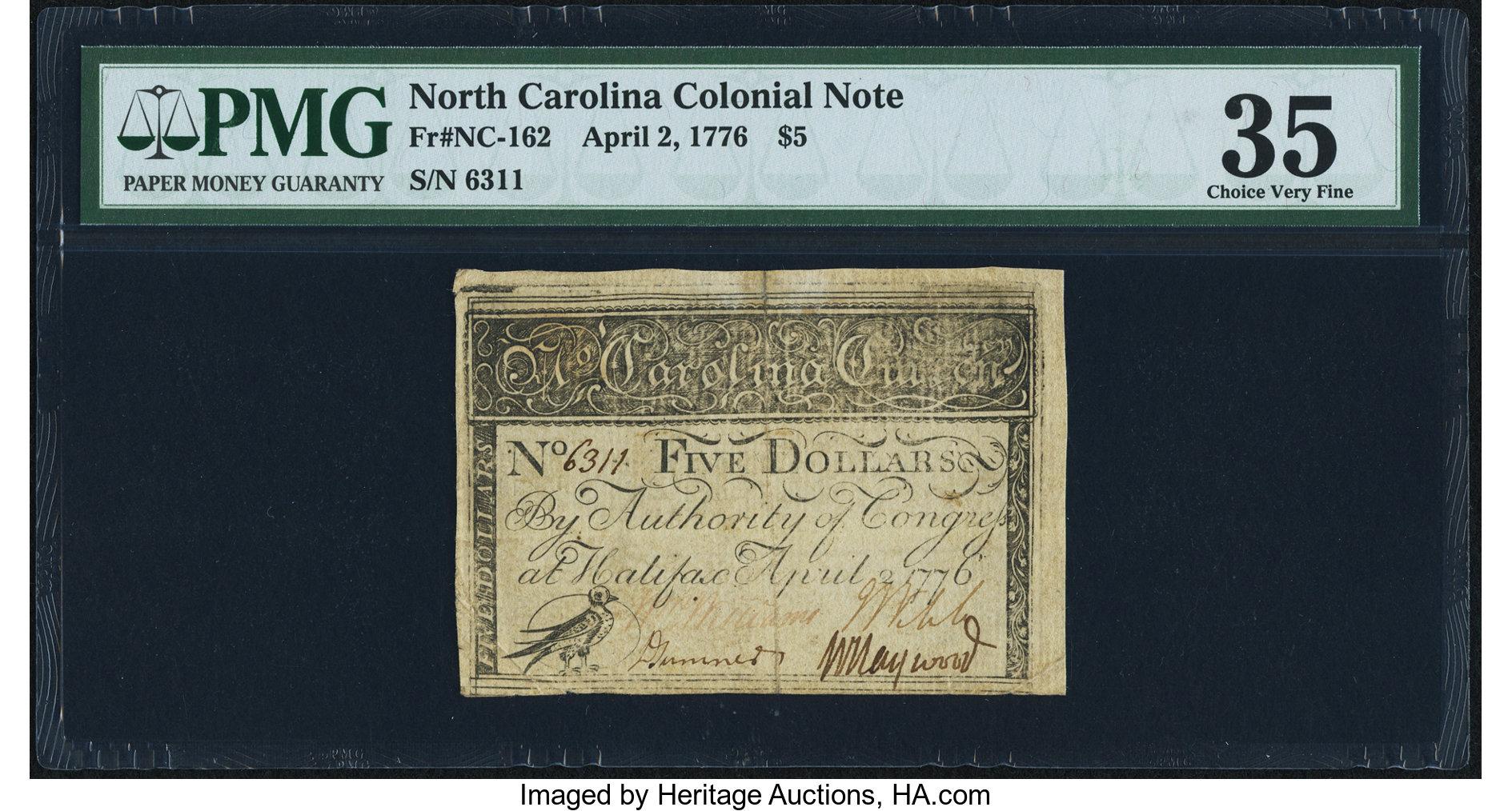 sample image for 1776 2-Apr $5  Thrush (Fr.# NC162a)