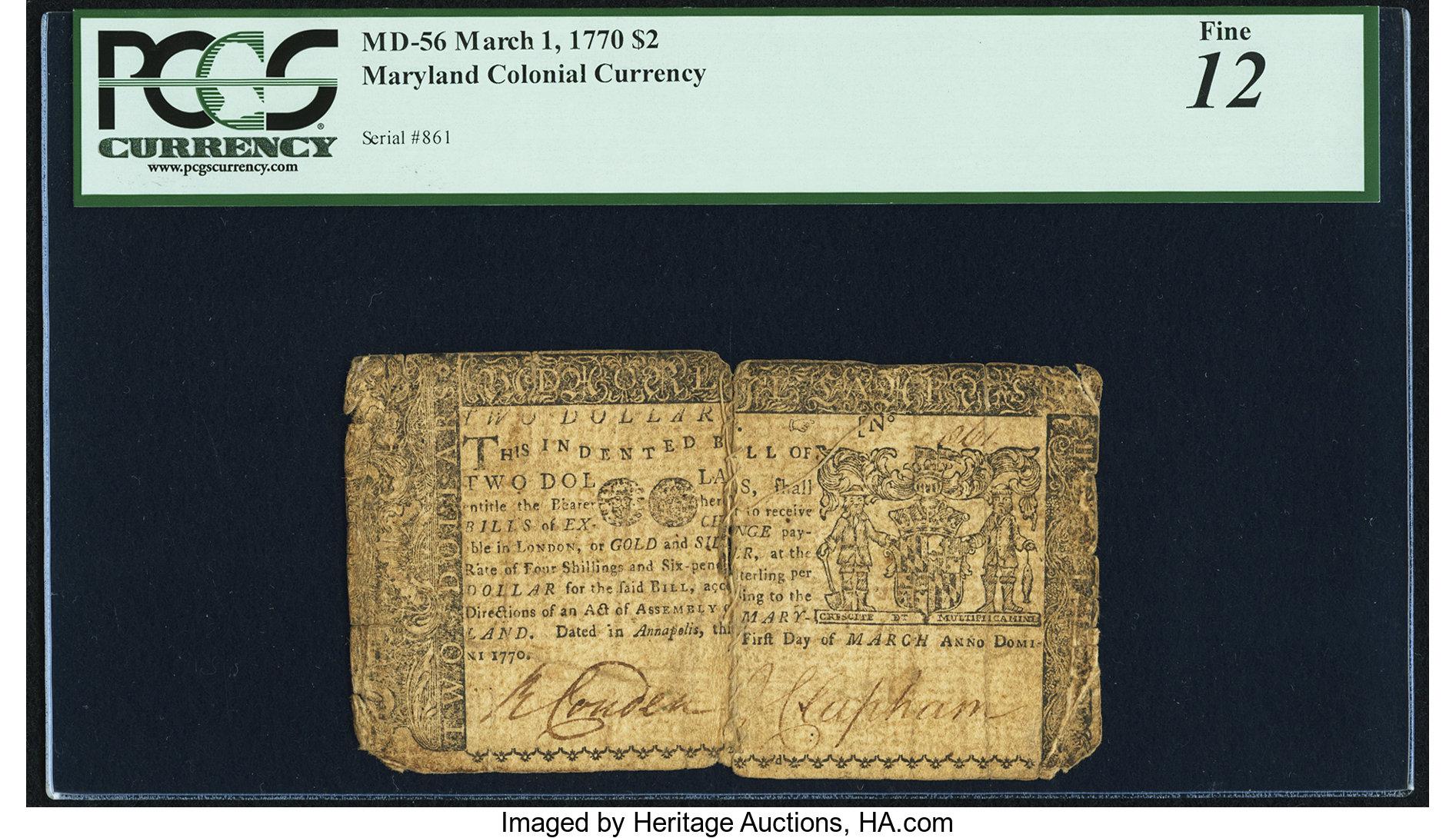 sample image for 1770 1-Mar $2  (Fr.# MD56)