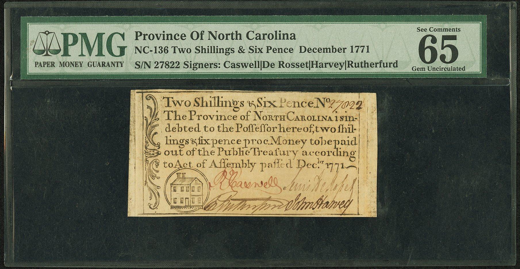 sample image for 1771 December 2s/6d (Fr.# NC136)